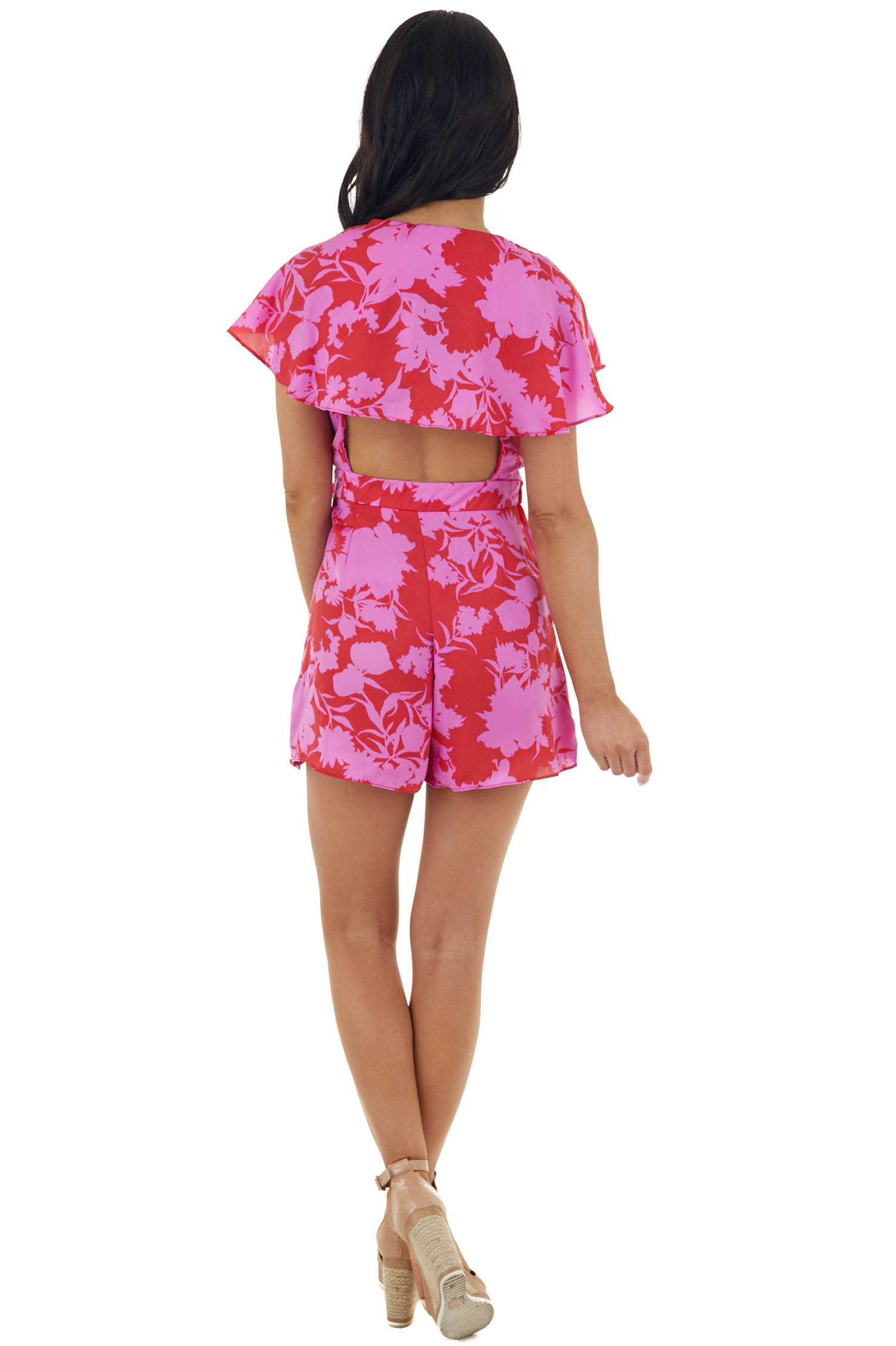 Orchid and Ruby Large Floral Print Ruffled Open Back Romper