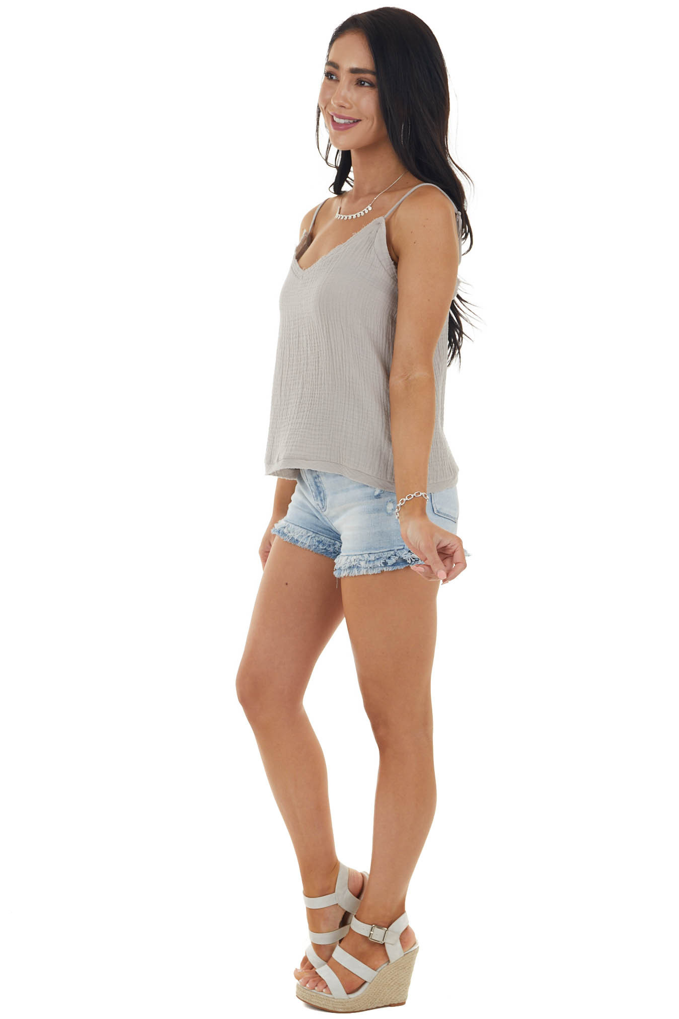 Rich Oatmeal Textured Sleeveless Top with Raw Edge Details