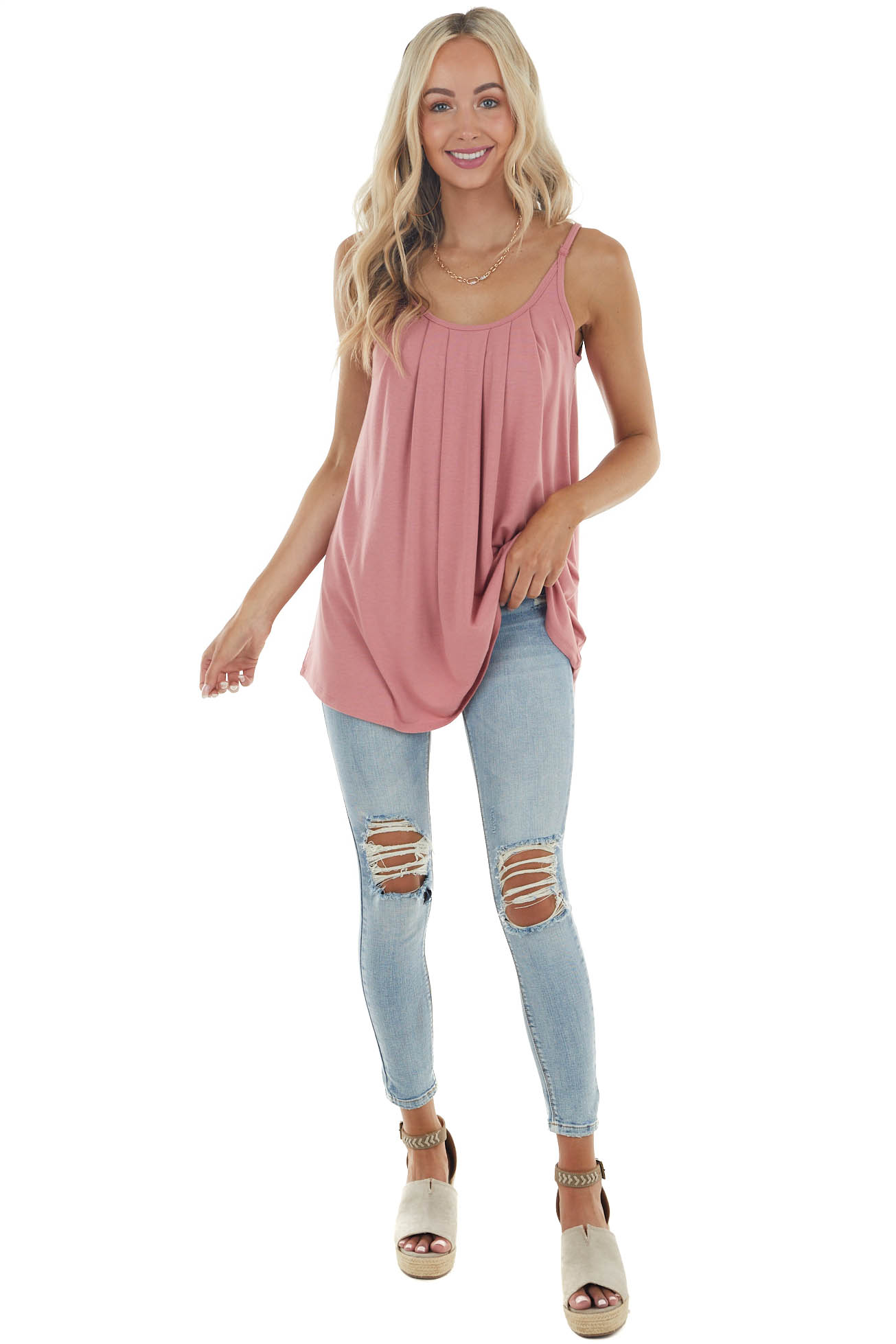Punch Pink Sleeveless Knit Top with Pleated Neckline