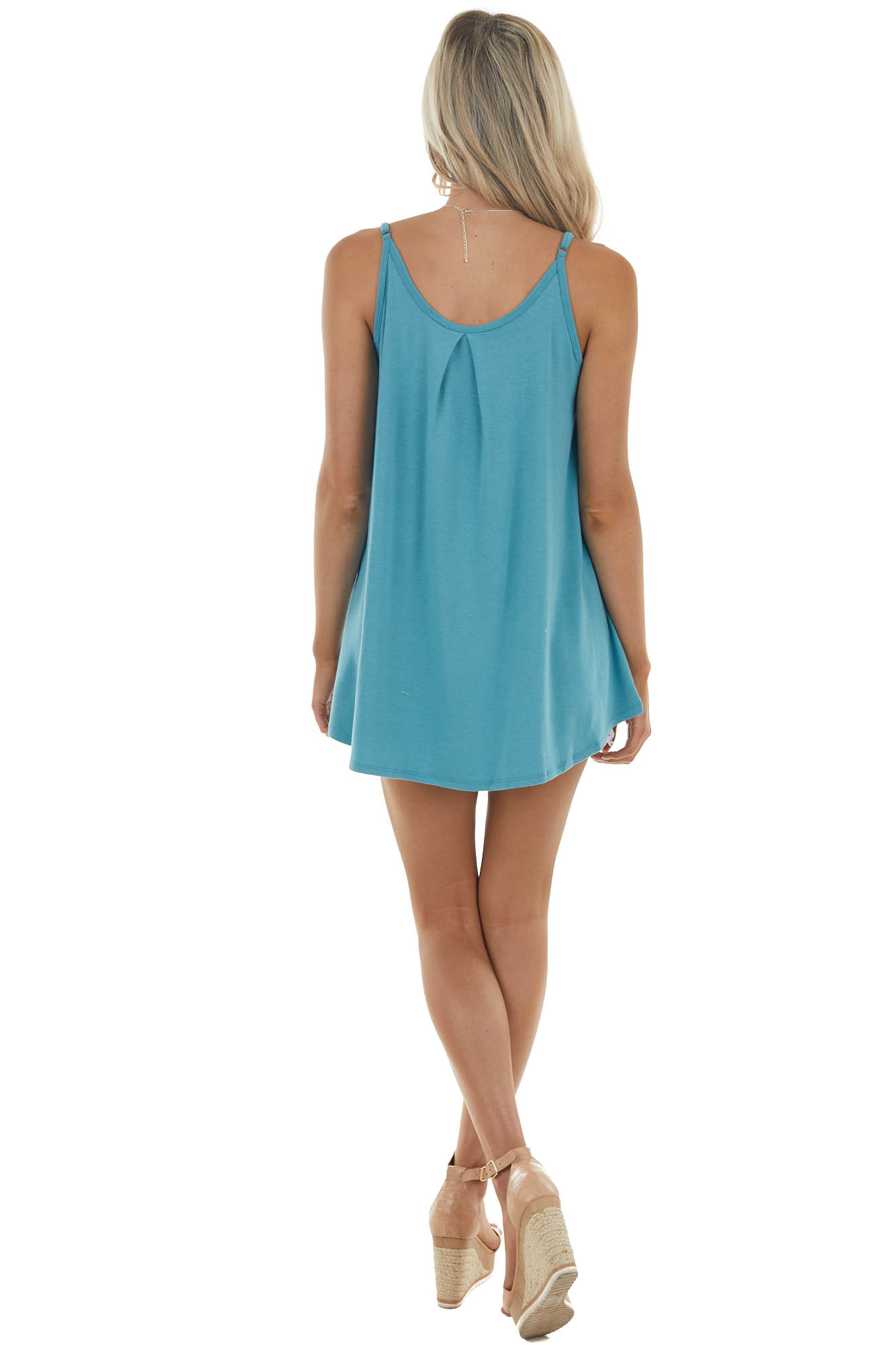 Sea Blue Sleeveless Knit Top with Pleated Neckline