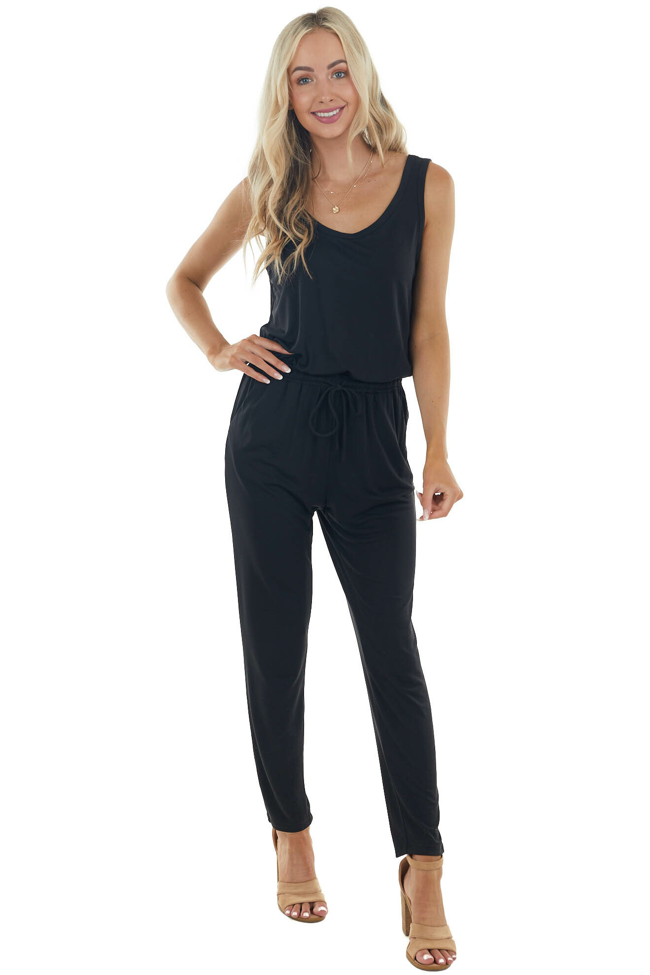 Black Sleeveless Stretchy Knit Jumpsuit with Waist Tie