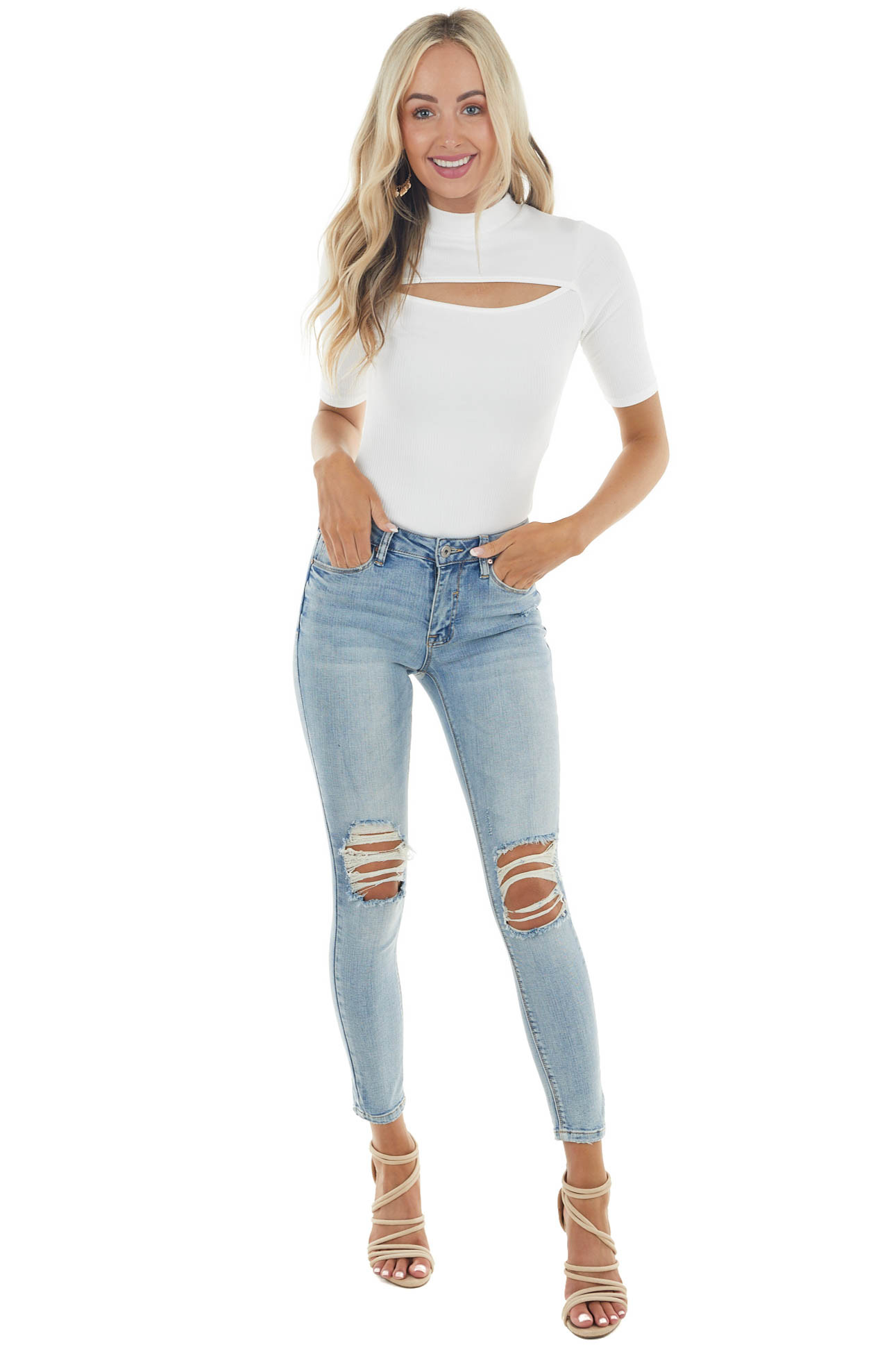 Ivory Ribbed Half Sleeve Bodysuit with Cut Out Detail