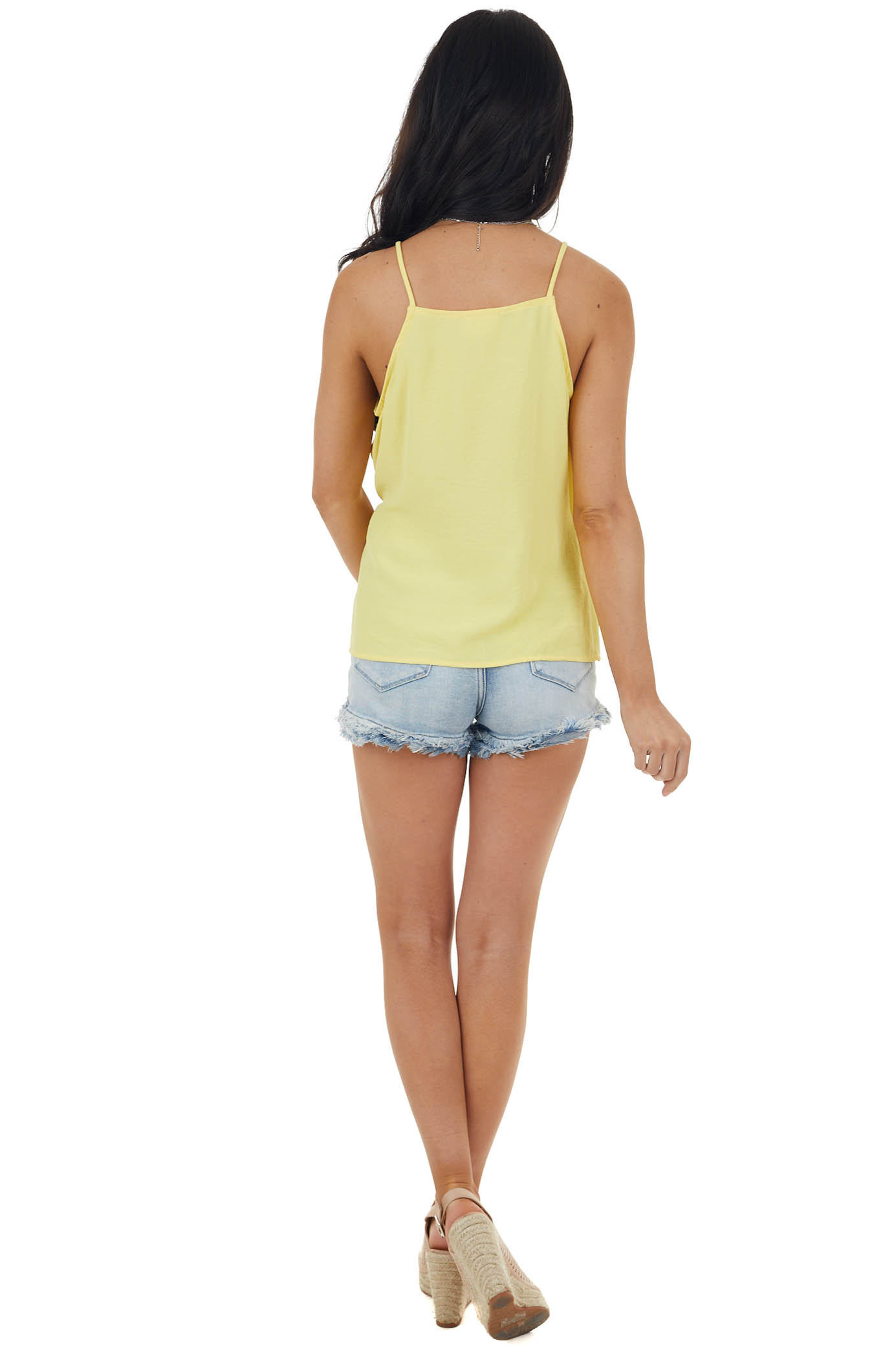 Soft Yellow Sleeveless Woven Surplice Top with Tie Details