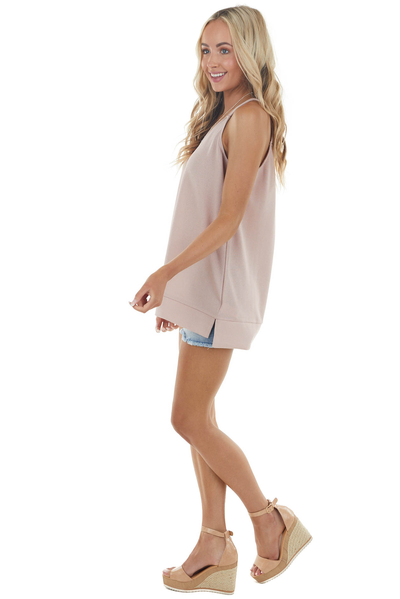 Dusty Blush Sleeveless V Neck Knit Top with Banded Hemline