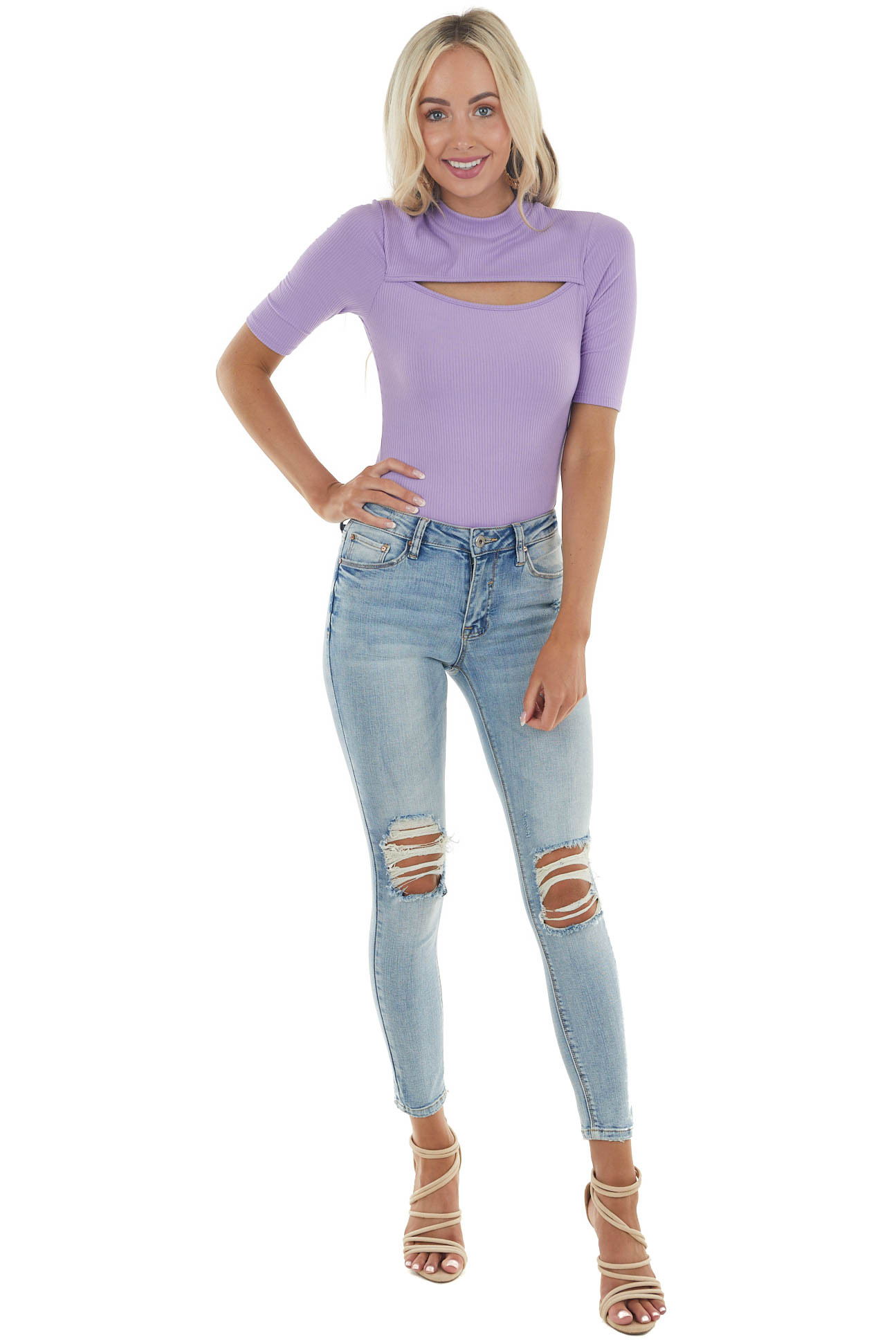 Lavender Ribbed Half Sleeve Bodysuit with Cut Out Detail