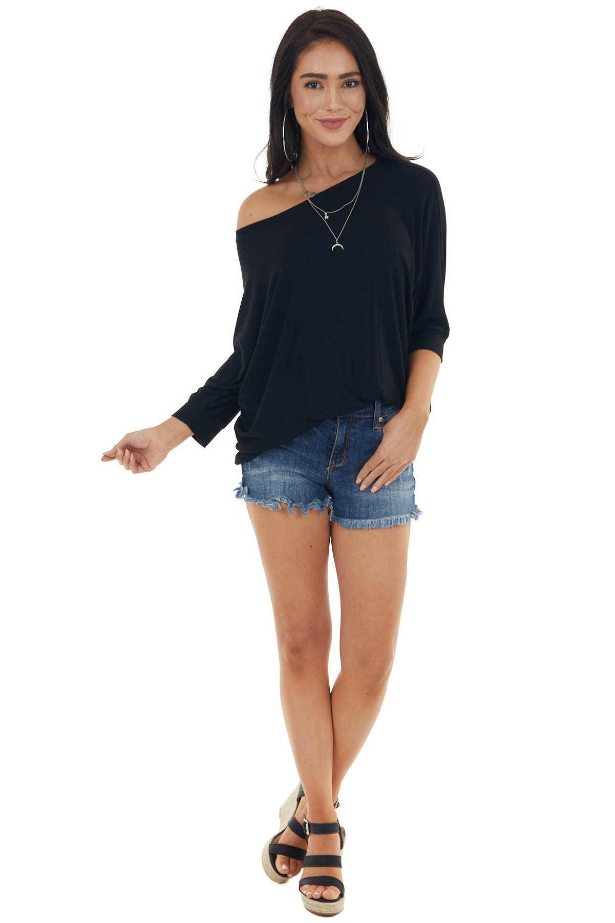 Black Strappy Back Knit Top with 3/4 Dolman Sleeves