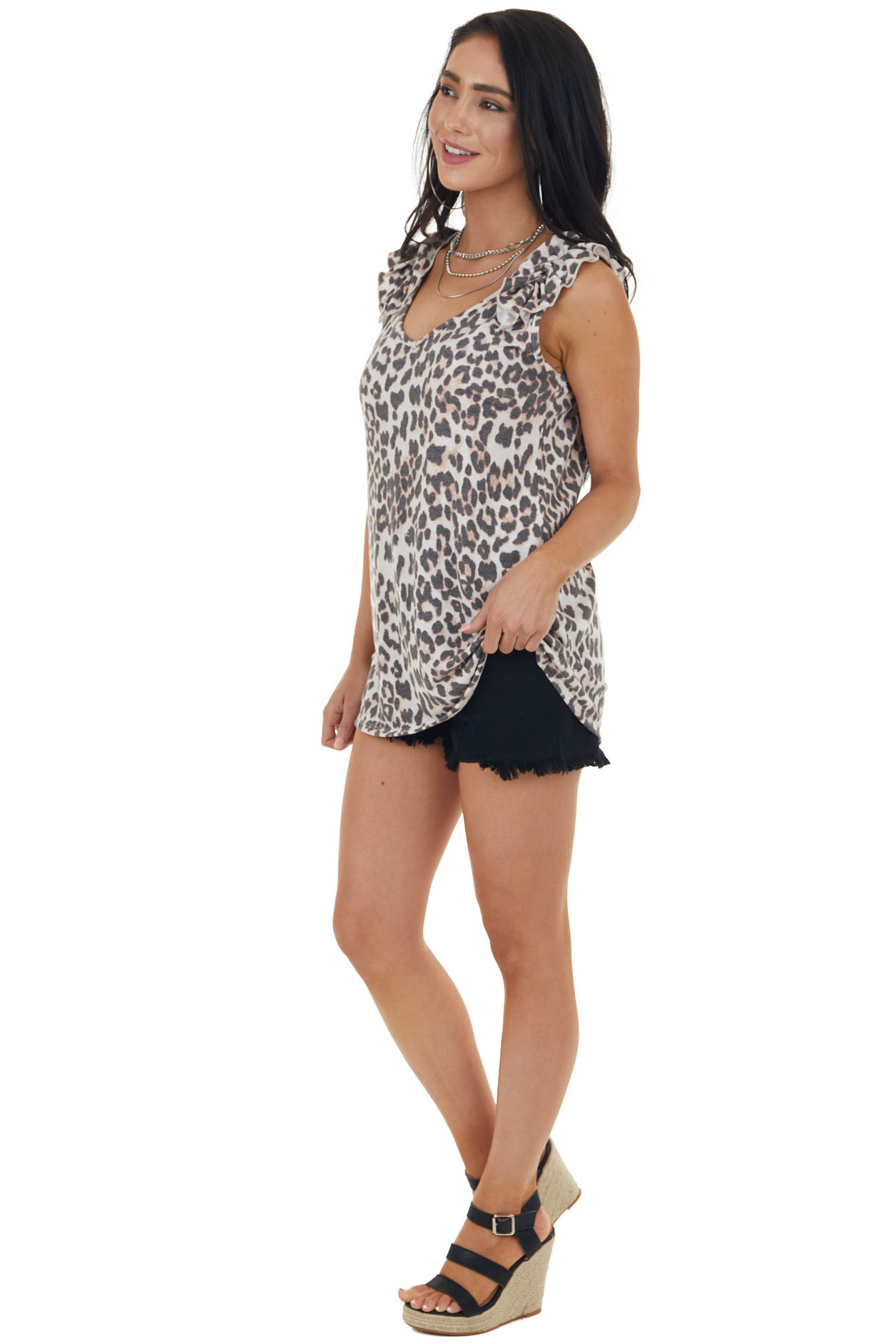 Vanilla Leopard Print Sleeveless Knit Top with Ruffles