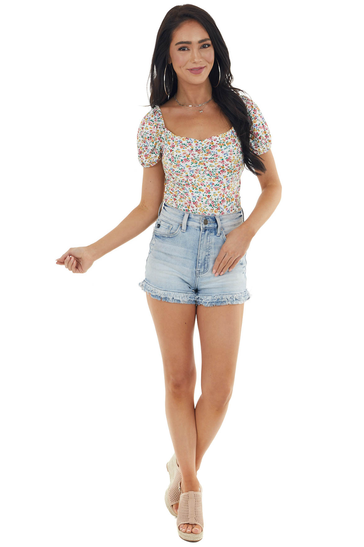 Ivory Multicolor Ditsy Floral Bodysuit with Short Sleeves