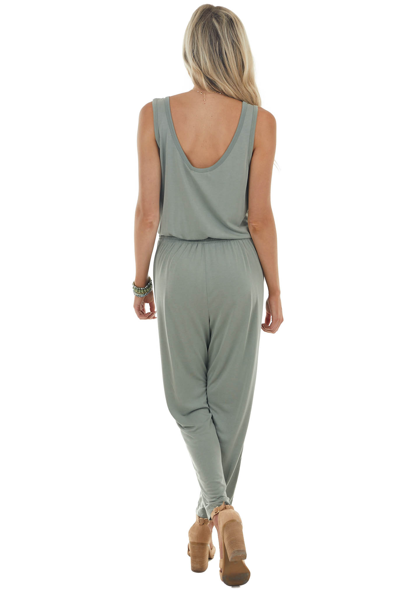 Juniper Sleeveless Stretchy Knit Jumpsuit with Waist Tie