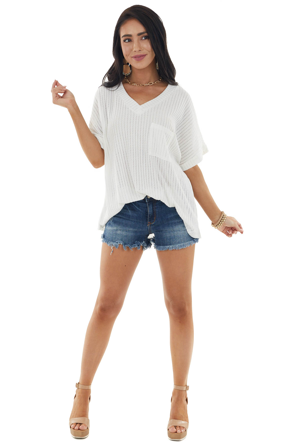 Ivory Loose Knit Top with V Neckline and Front Chest Pocket