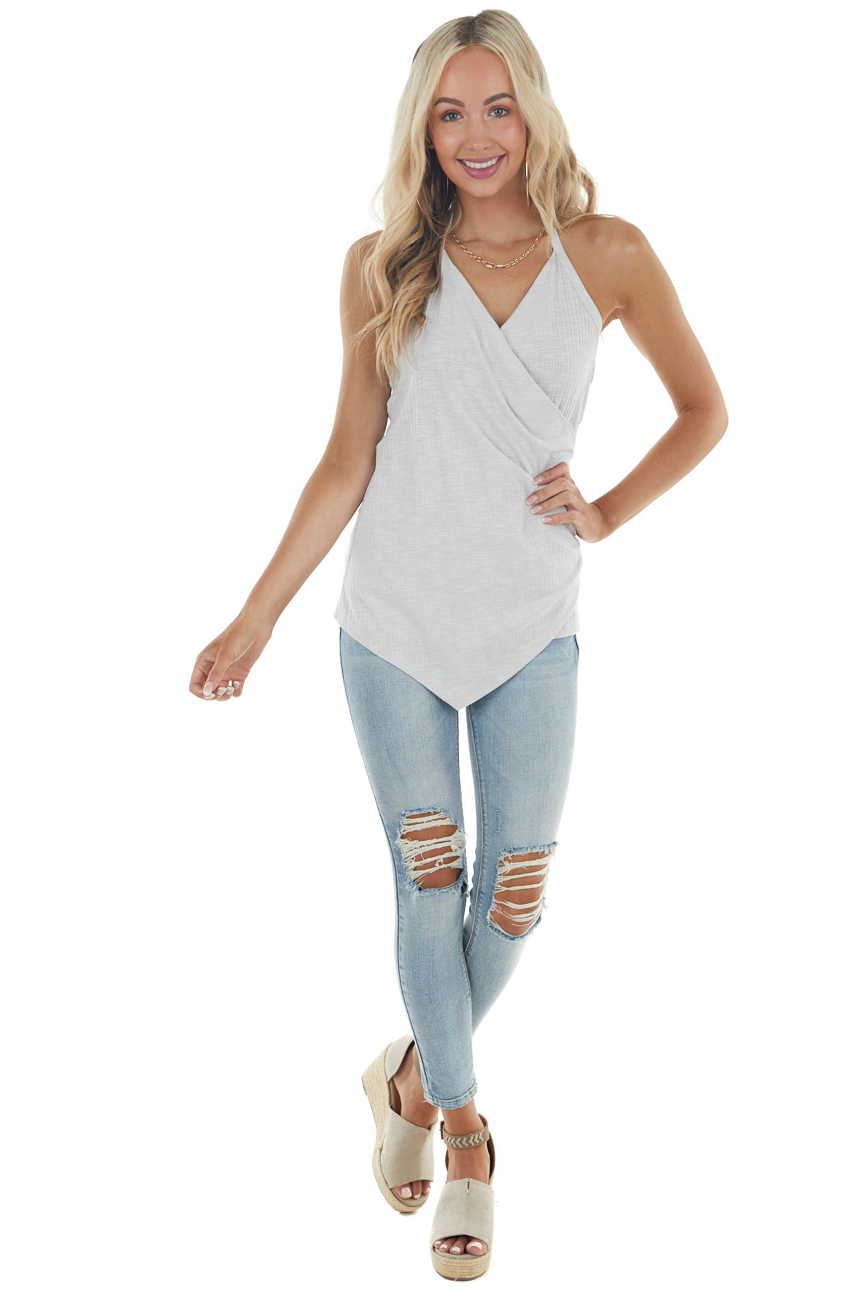 Dove Grey Surplice Ribbed Knit Top with Halter Tie Neckline