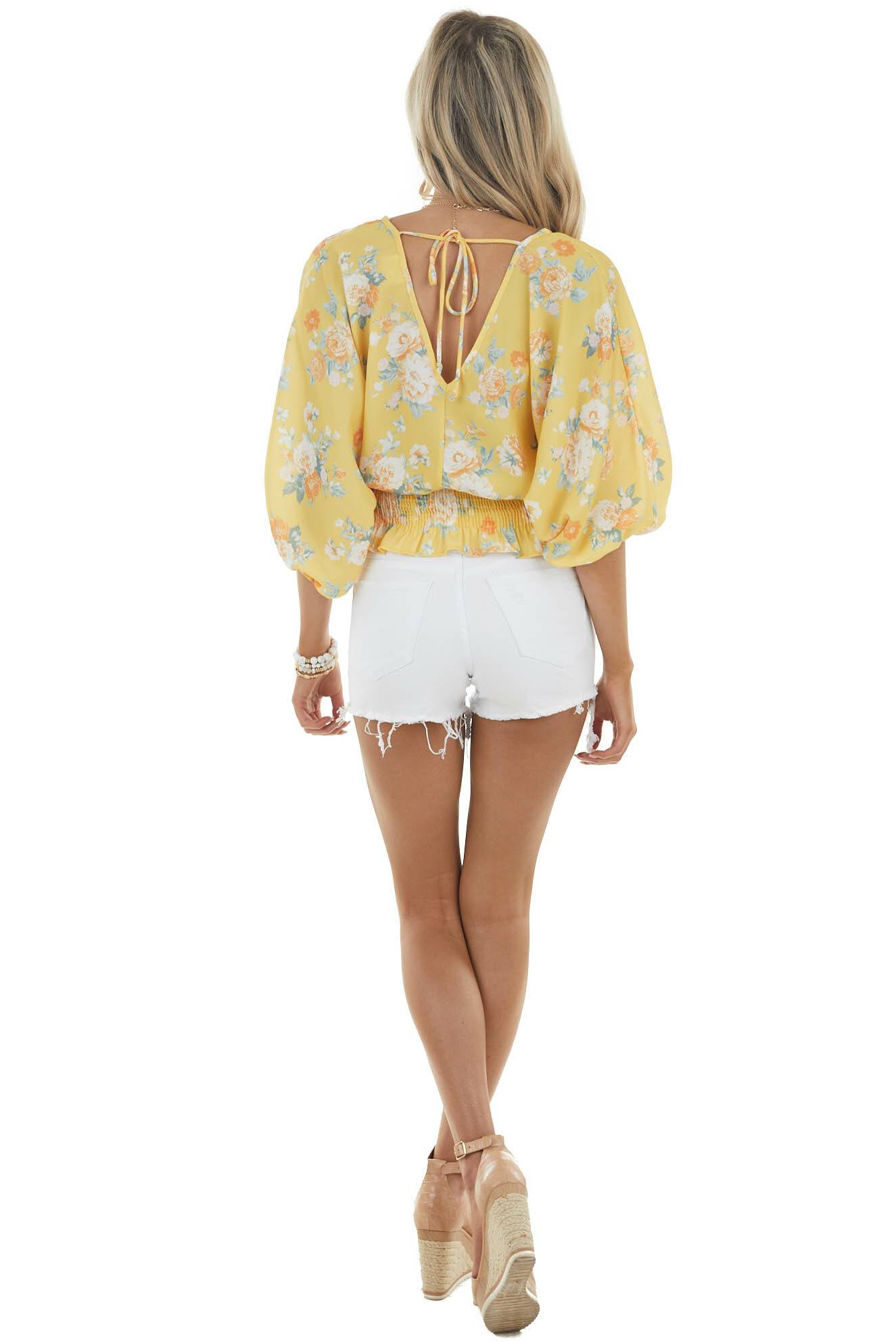 Soft Yellow Floral Print 3/4 Sleeve Smocked Waist Blouse