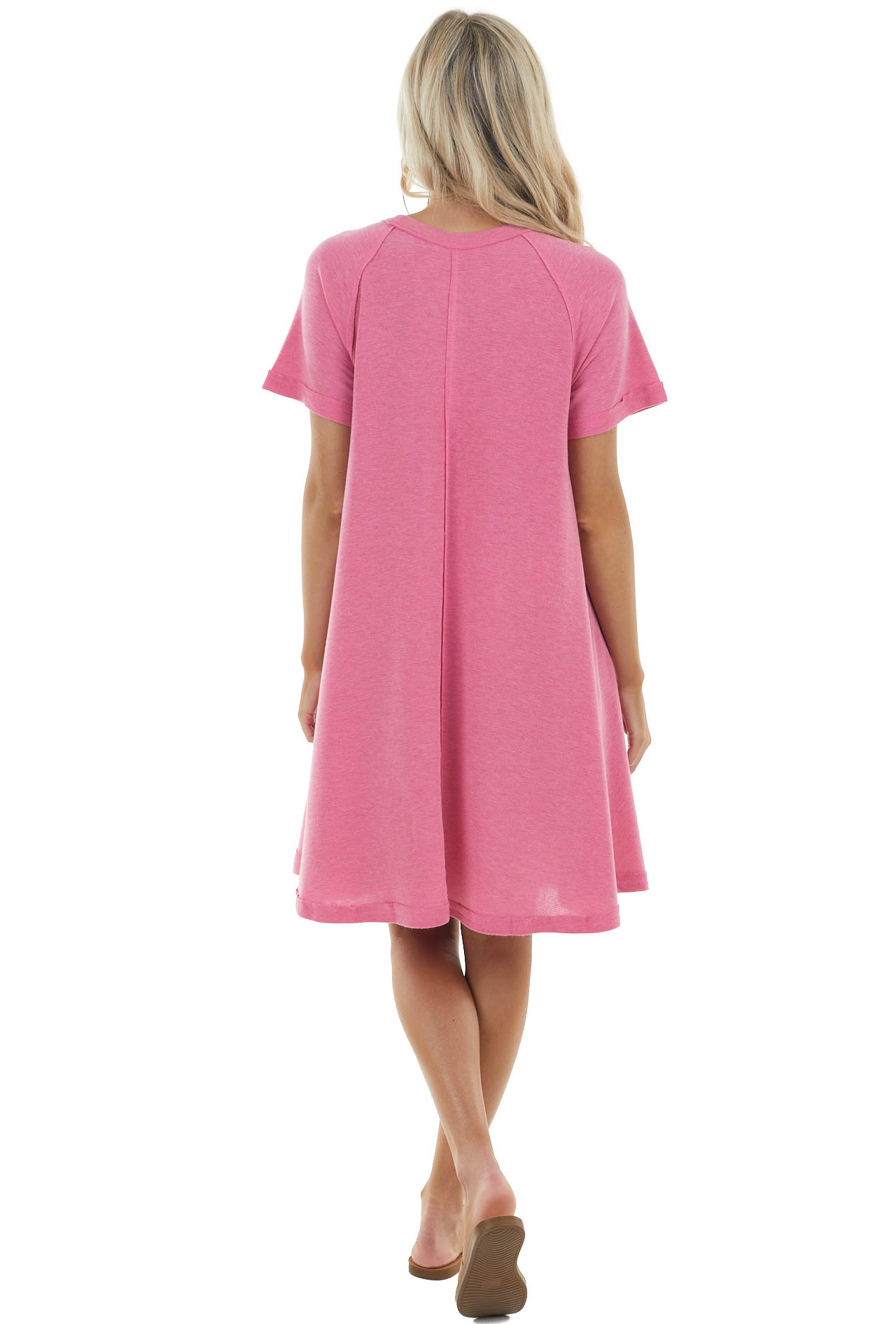 Heathered Hibiscus Short Swing Dress with Raw Edge Details