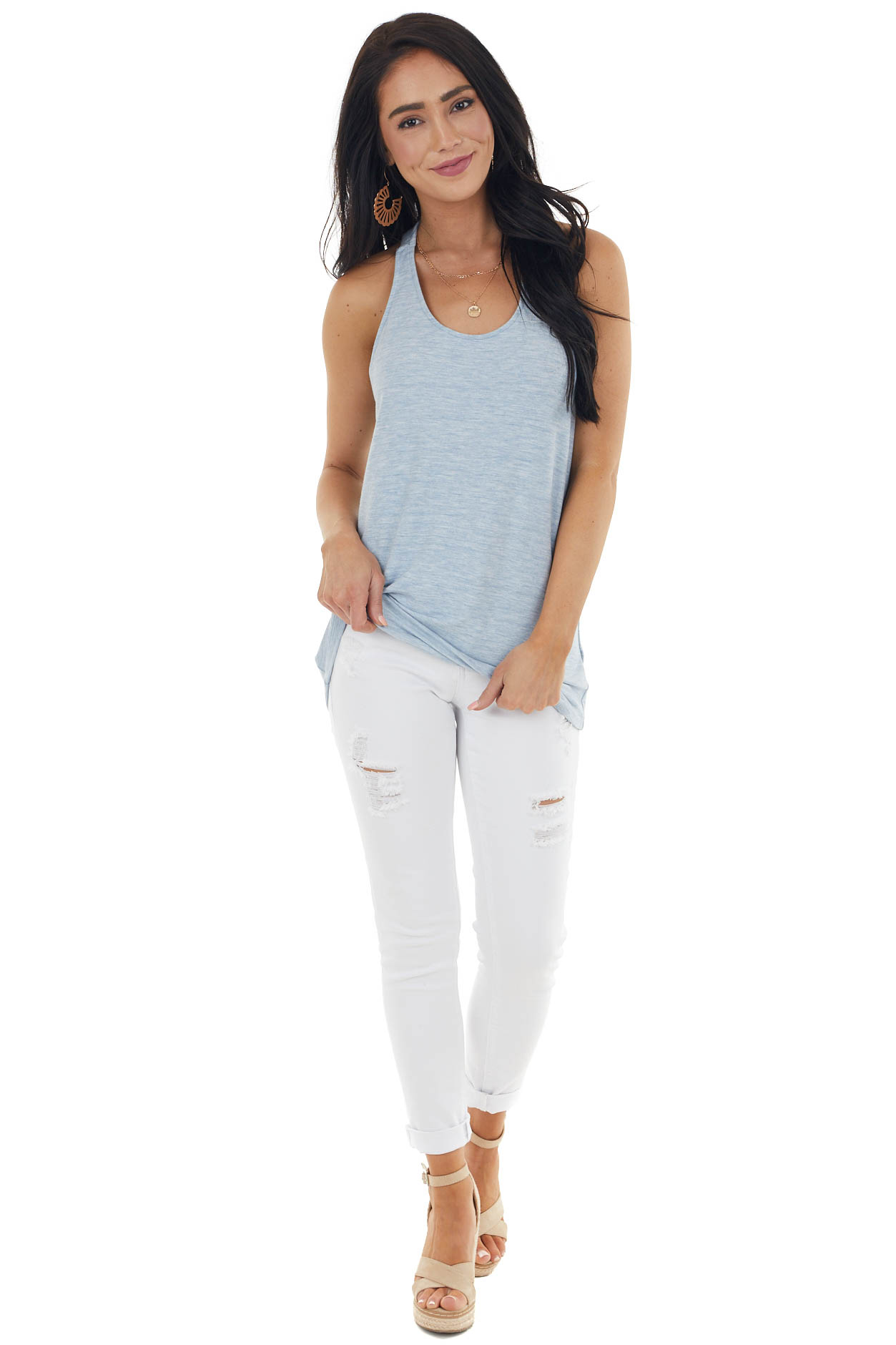 Heathered Blue Strappy Back Sleeveless Knit Tank Top