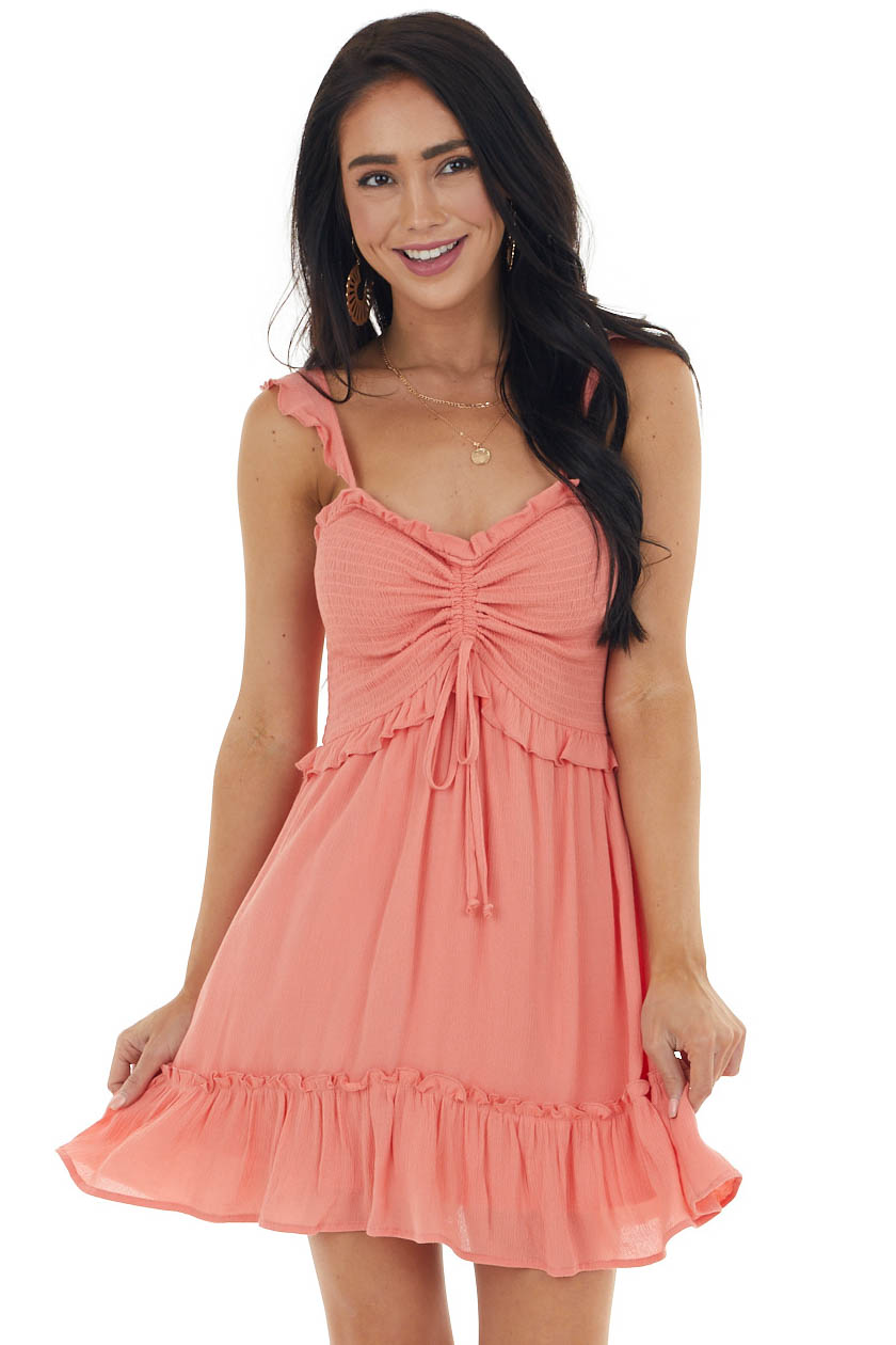 Coral Textured Sleeveless Woven Dress with Smocked Bodice