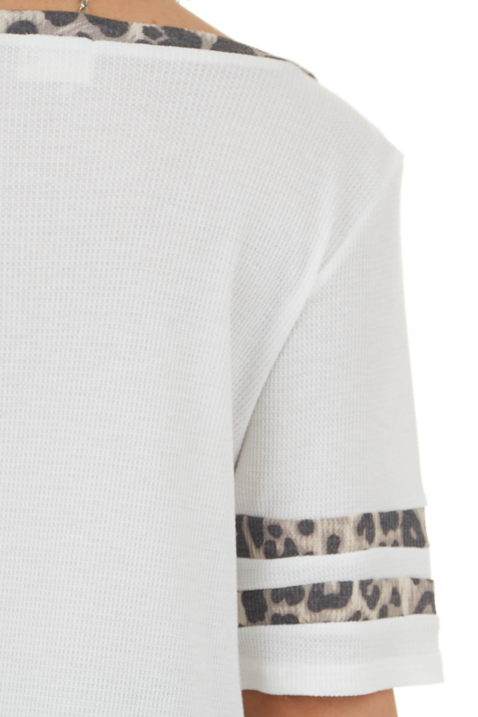 Off White and Leopard Print Waffle Knit Short Sleeve Top