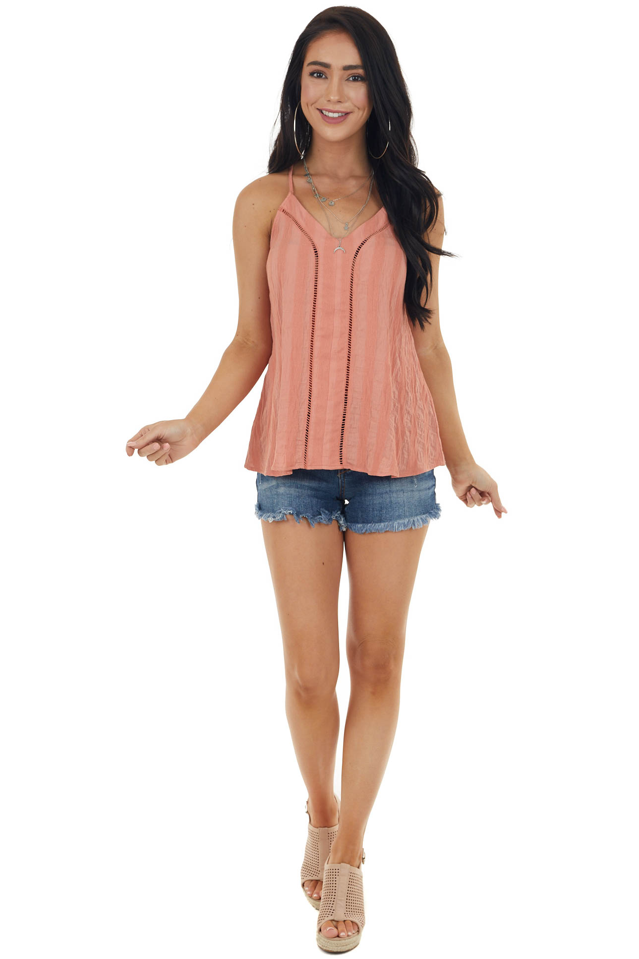 Coral Striped Textured Sleeveless Top with Peekaboo Detail