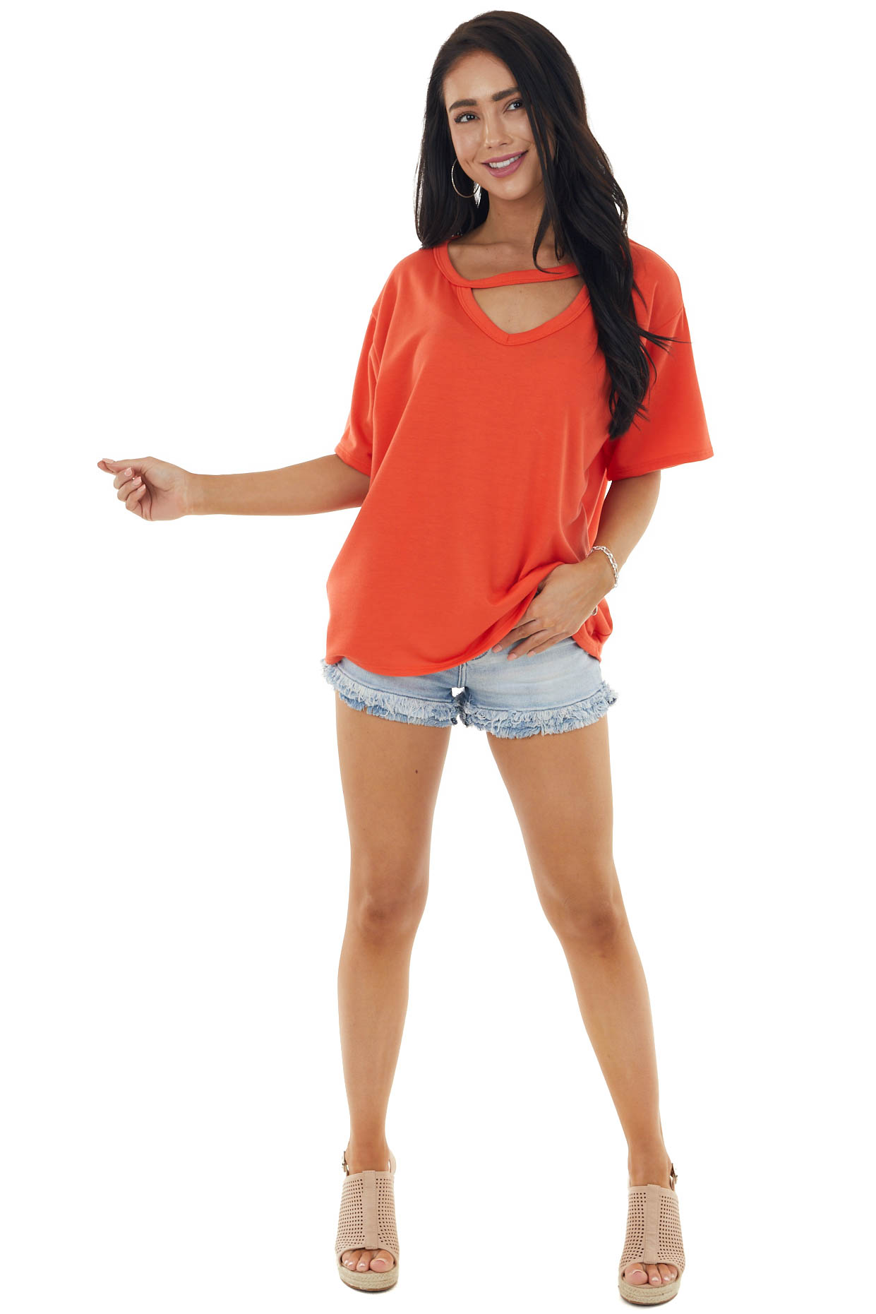 Fire Orange Half Sleeve Knit Top with Cut Out Detail