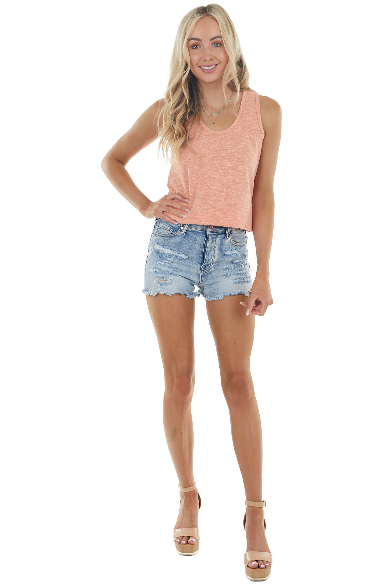 Heathered Salmon Knit Tank Top with Double Strap Back Detail