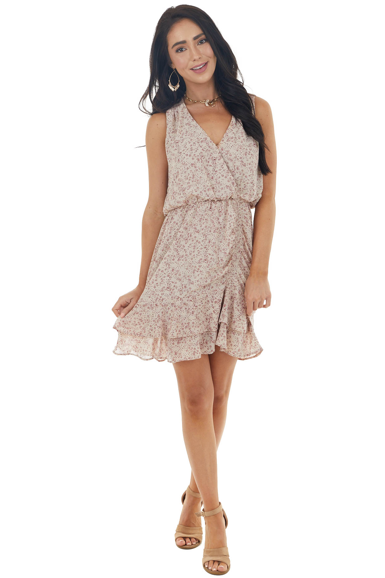Dark Champagne and Boysenberry Ditsy Floral Sleeveless Dress