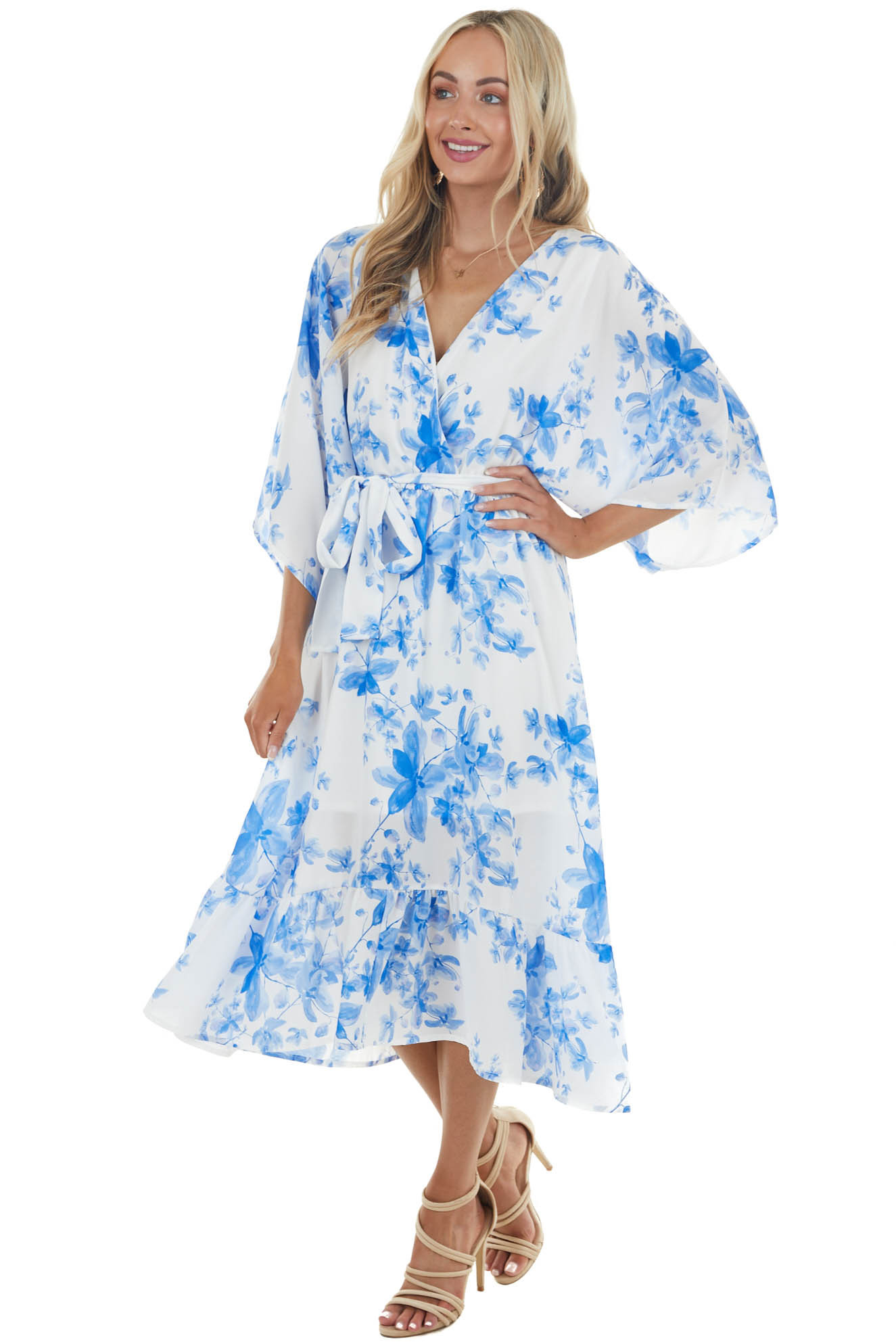 Ivory and Blue Floral Print Midi Dress with Overlay Detail