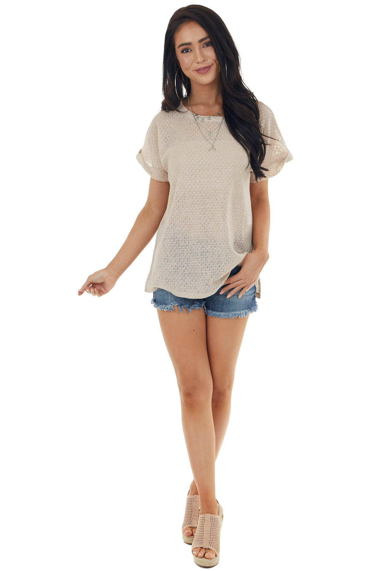 Sand Stretchy Textured Loose Knit Top with Short Sleeves