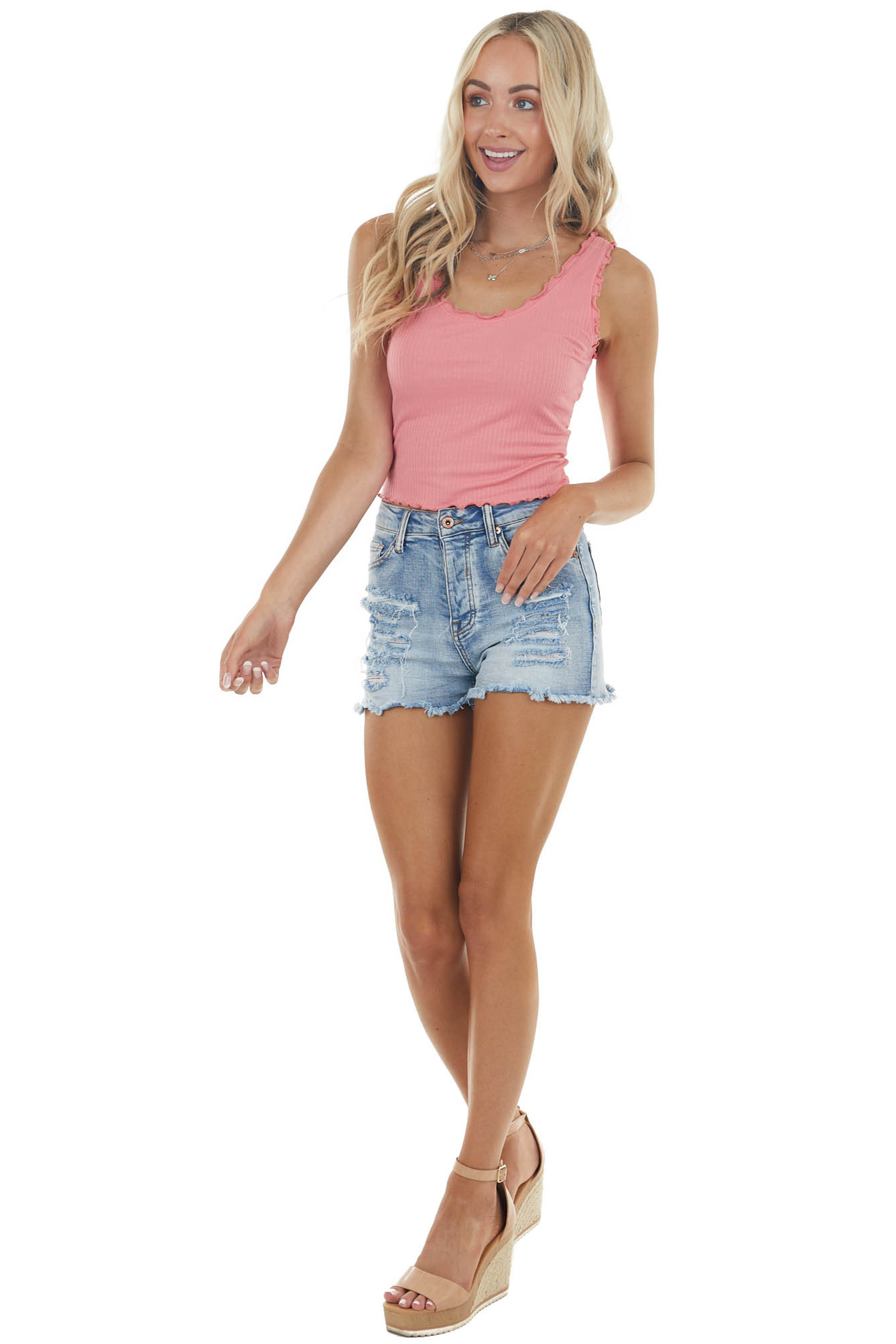 Punch Sleeveless Textured Knit Crop Top with Lettuce Hem