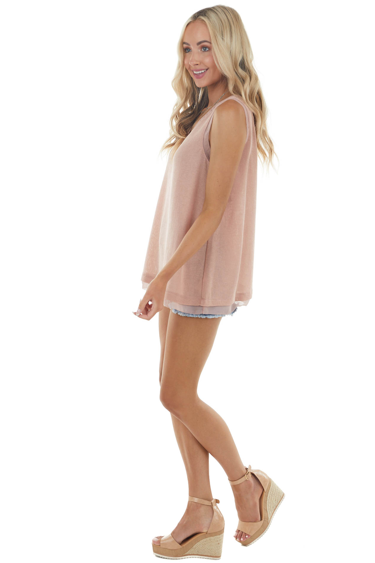 Dusty Blush Knit Tank Top with Sheer Trim and Back Strap