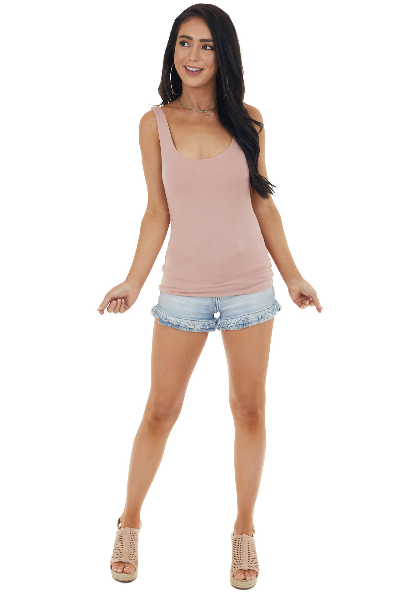 Dusty Blush Lightweight Sleeveless Stretchy Knit Tank Top