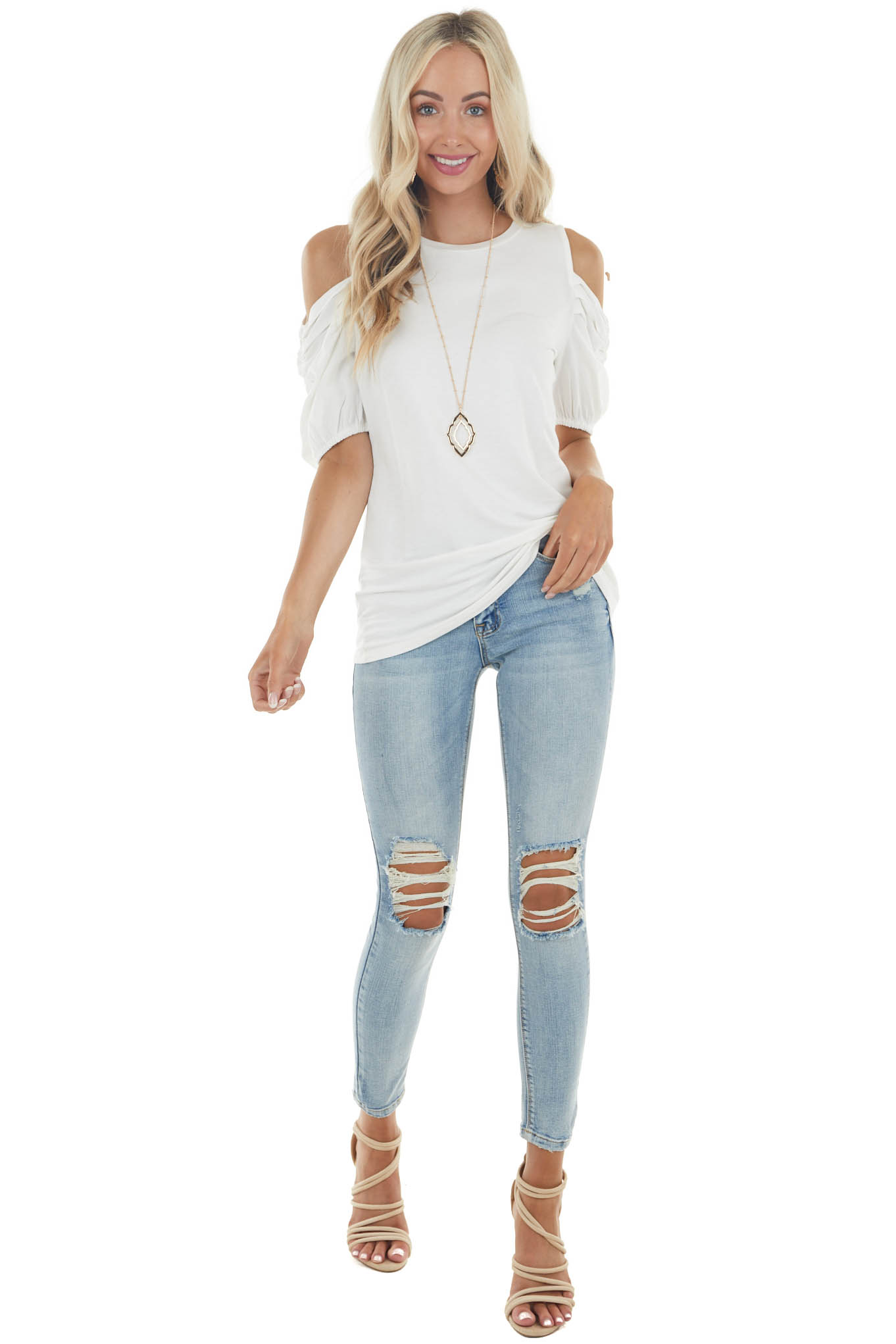 Ivory Cold Shoulder Stretchy Knit Top with Puff Sleeves