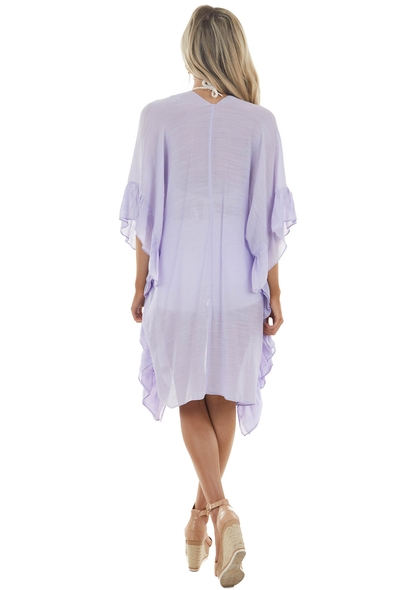 Lavender Half Sleeve Open Front Kimono with Ruffle Details