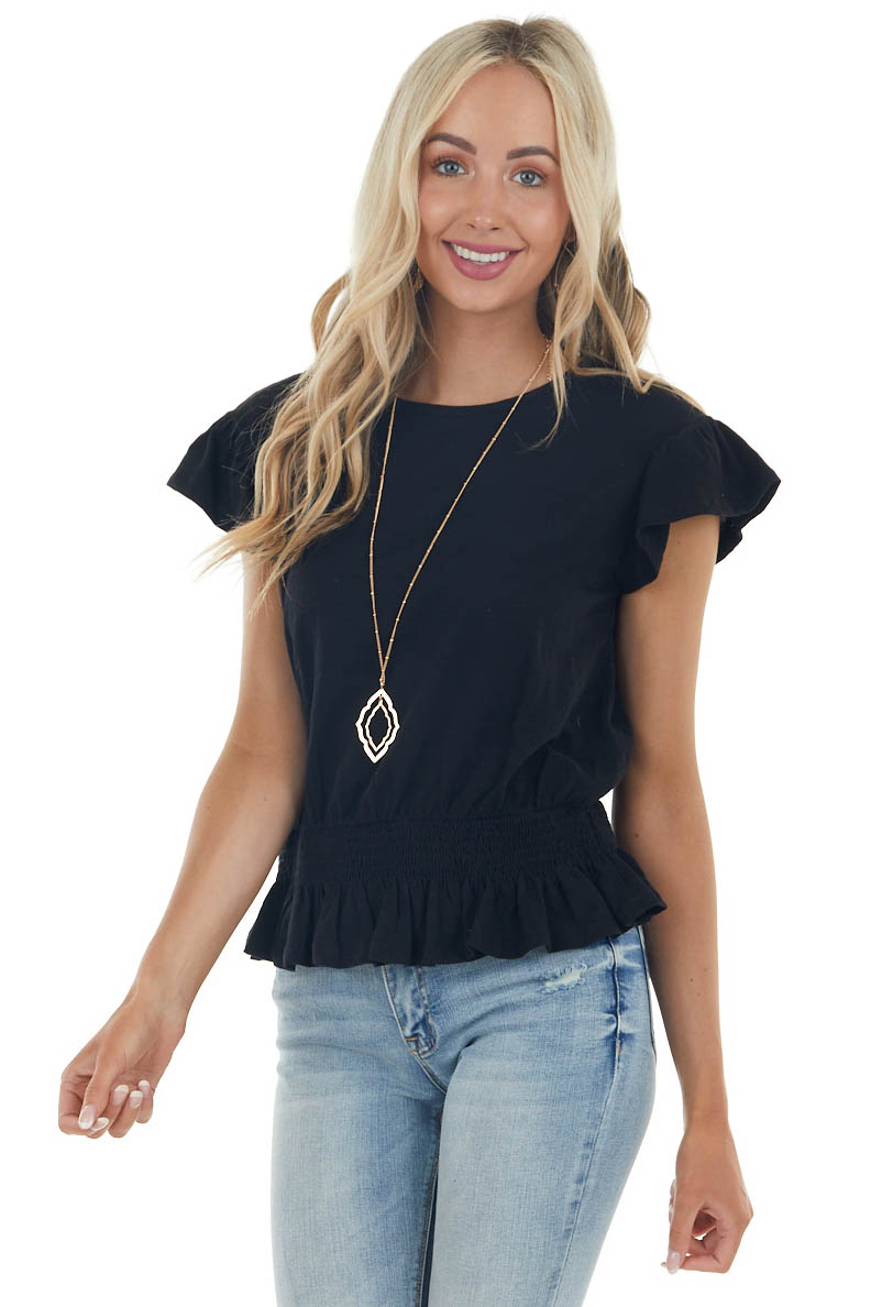 Black Smocked Waist Peplum Knit Top with Ruffle Sleeves