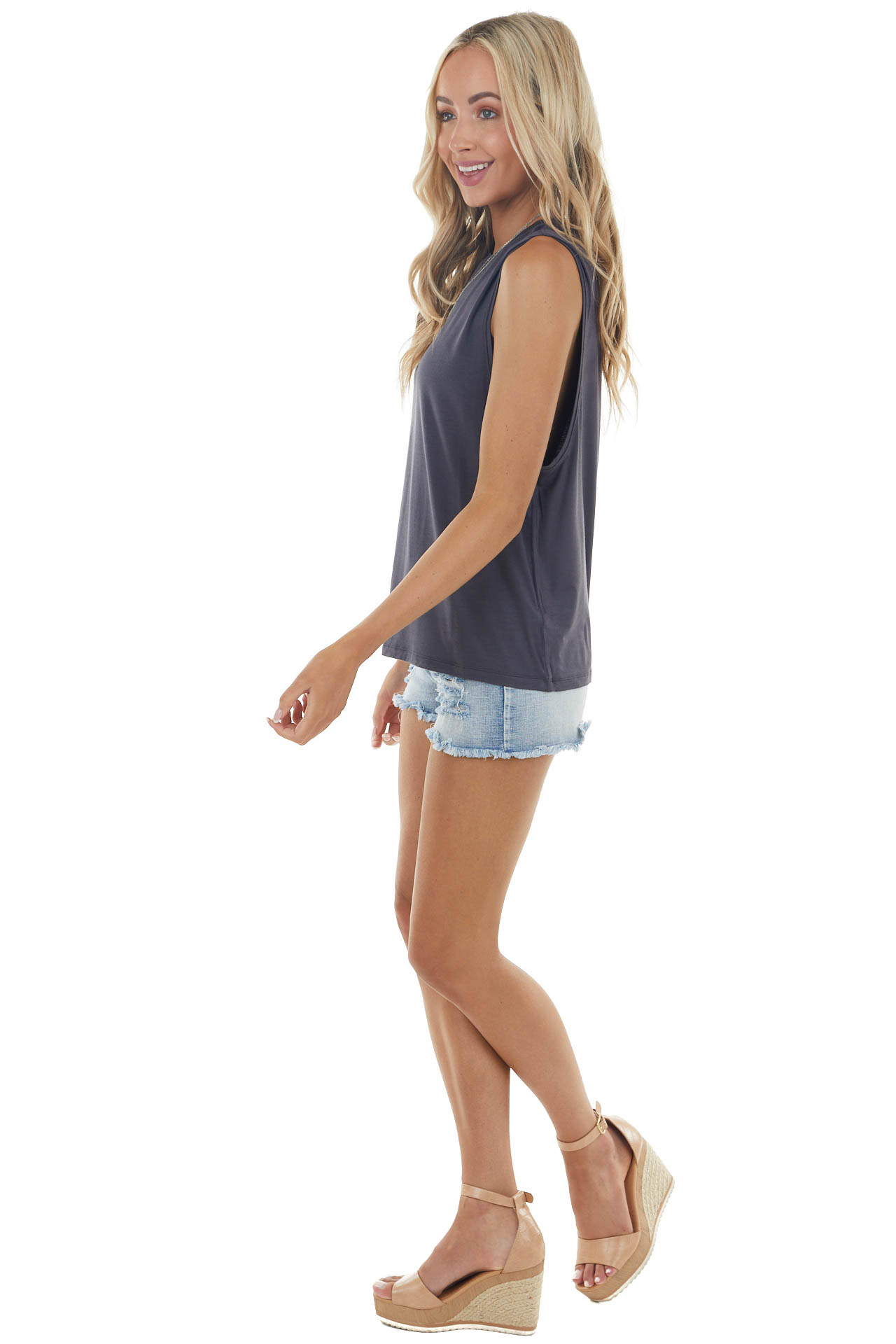 Charcoal Lightweight Sleeveless Stretchy Knit Tank Top