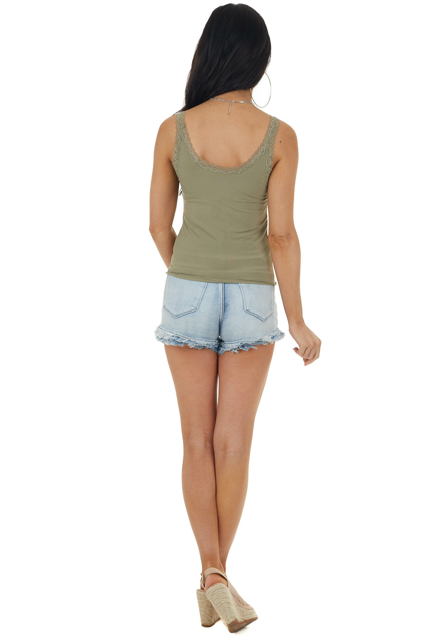 Faded Olive Ribbed Knit Tank Top with Lace Details