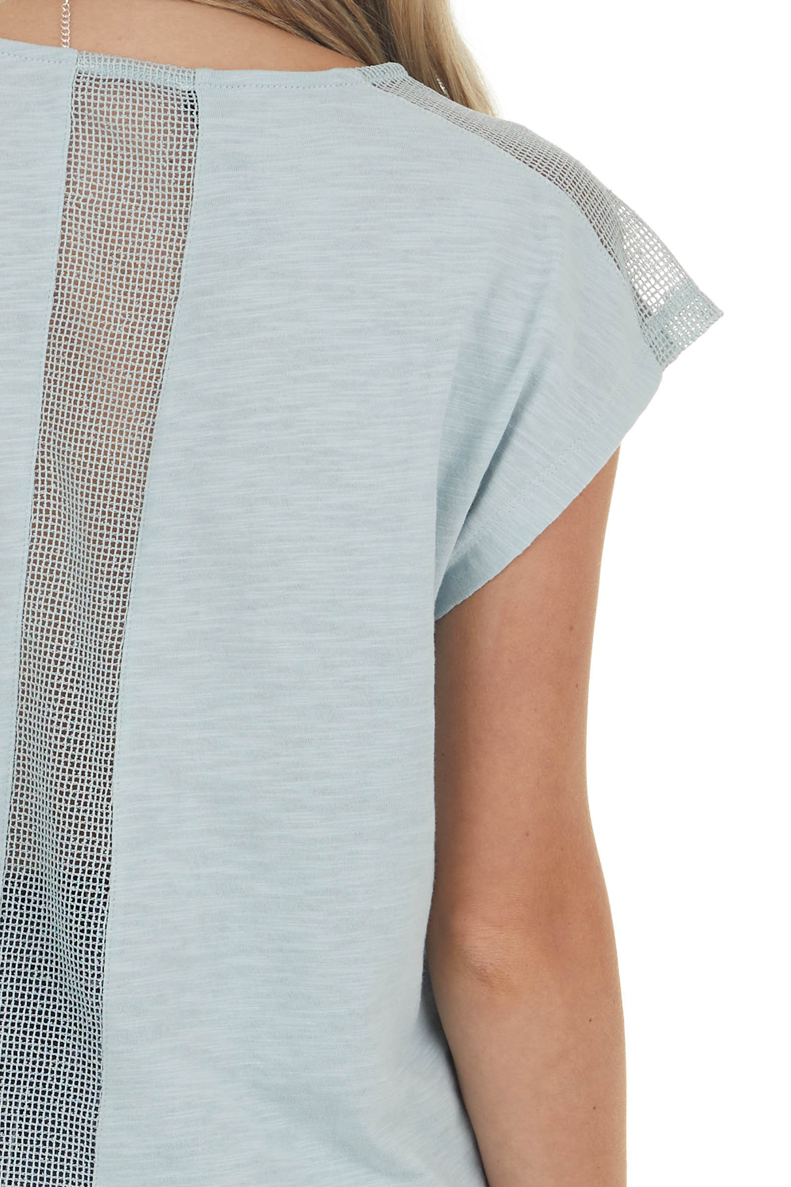 Heathered Mint Short Sleeve Knit Top with Netting Details