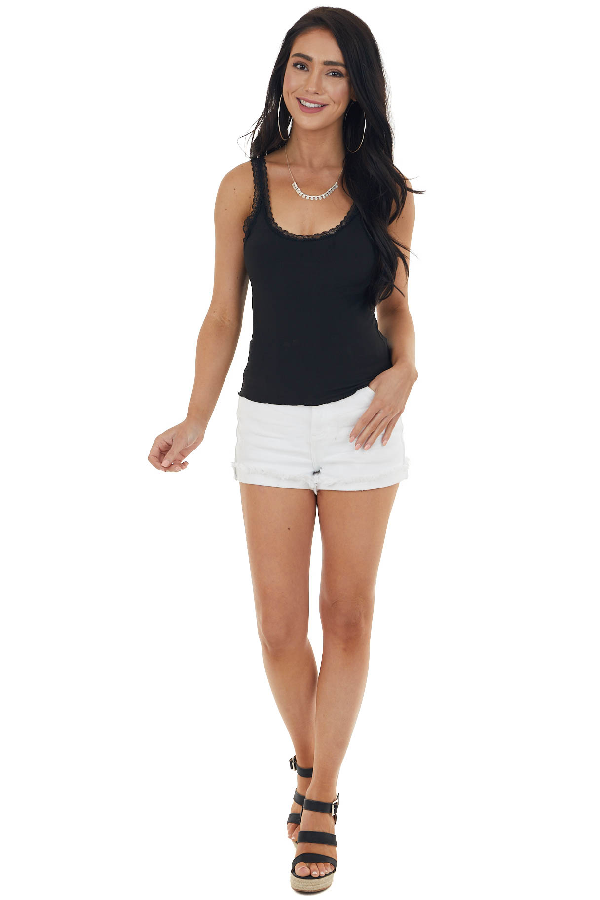 Black Ribbed Knit Tank Top with Lace Details