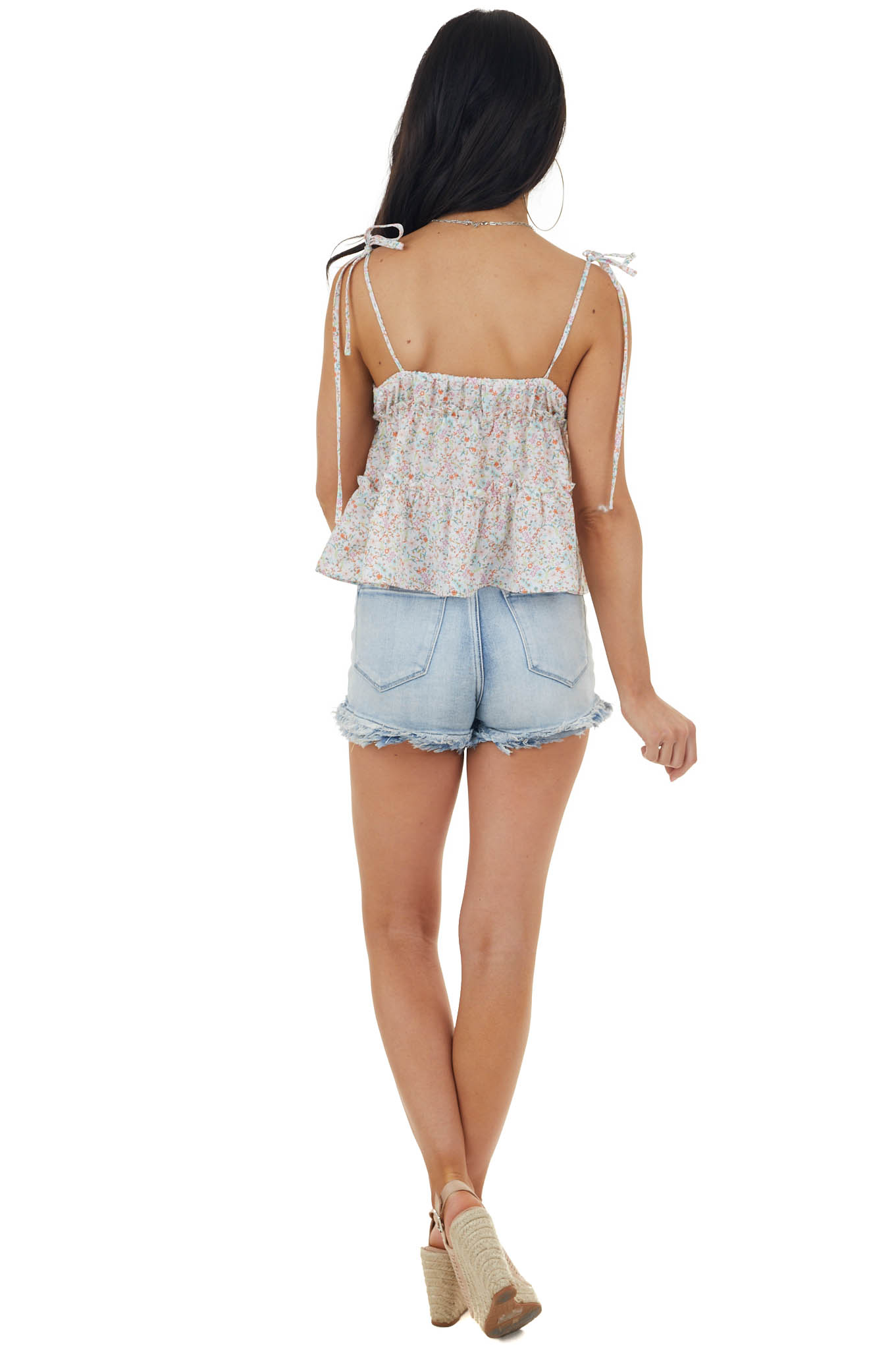 Off White Floral Print Sleeveless Blouse with Tie Straps