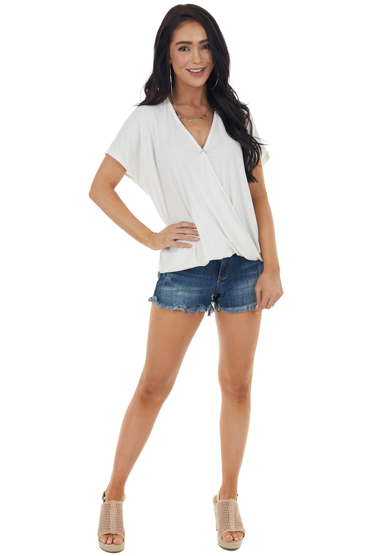 Off White Short Dolman Sleeve Surplice Loose Fit Knit Top