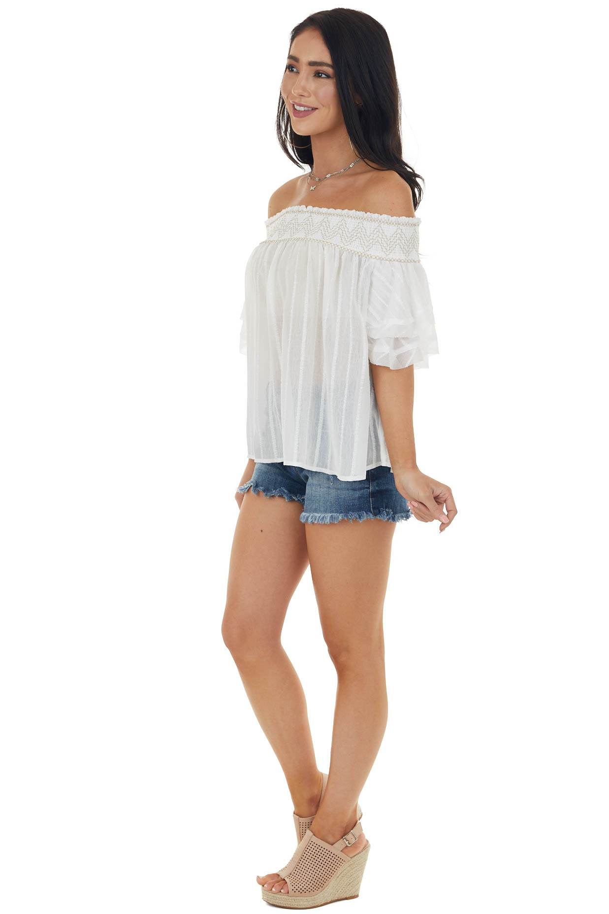 Pearl and Beige Smocked Neckline Off the Shoulder Blouse