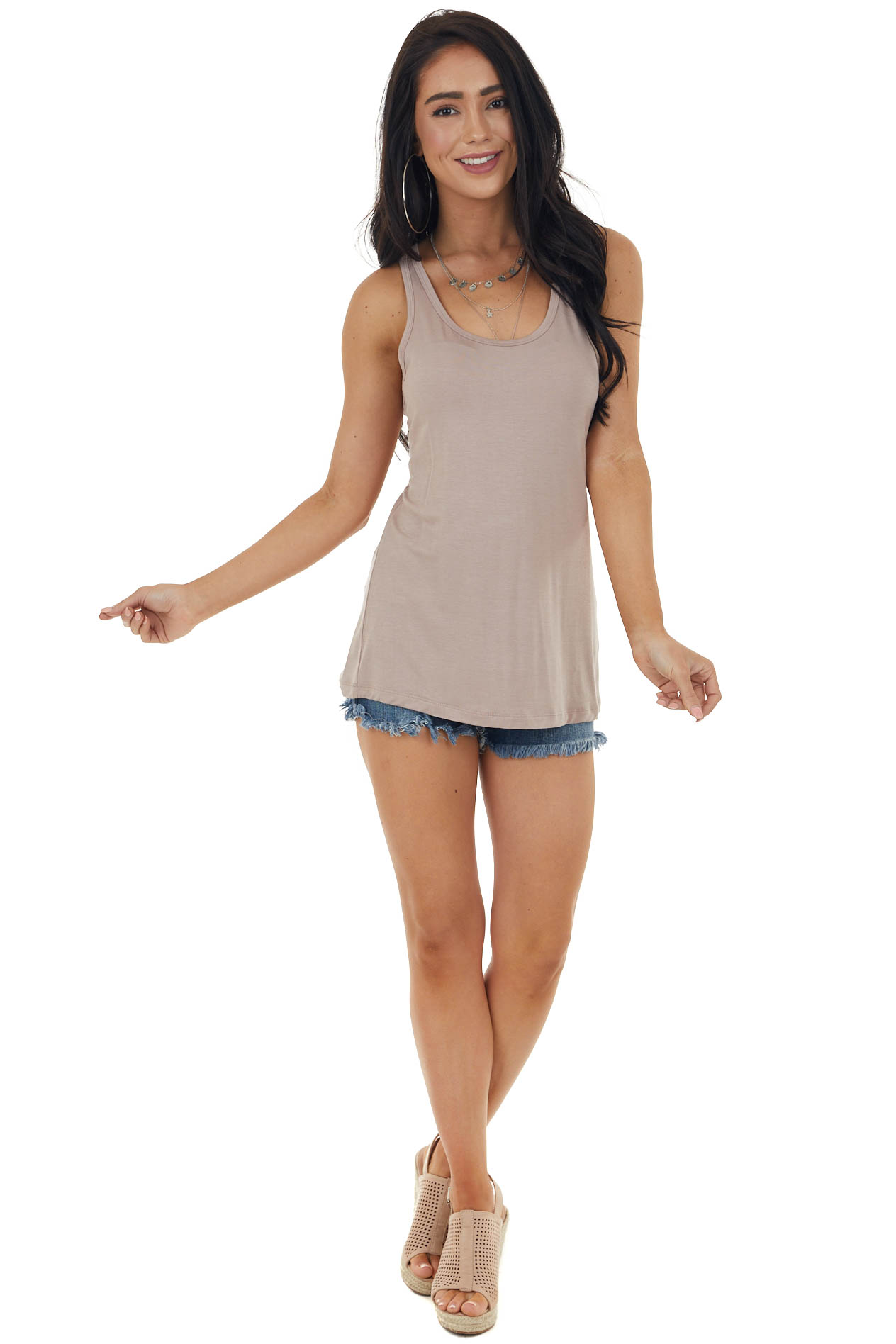 Light Rose Taupe Soft Stretchy Knit Tank Top with Racerback