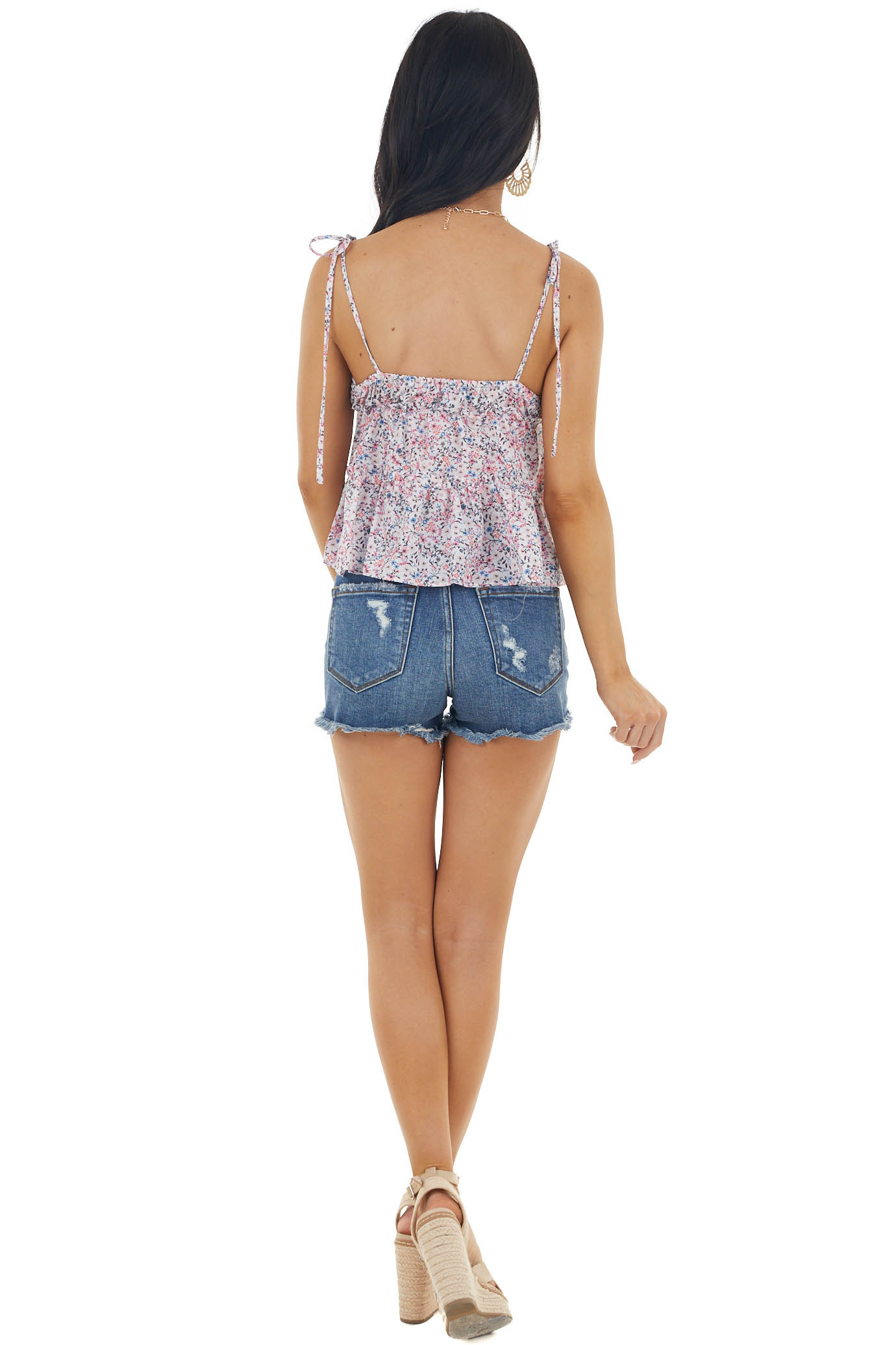 Baby Pink Floral Print Sleeveless Blouse with Tie Straps