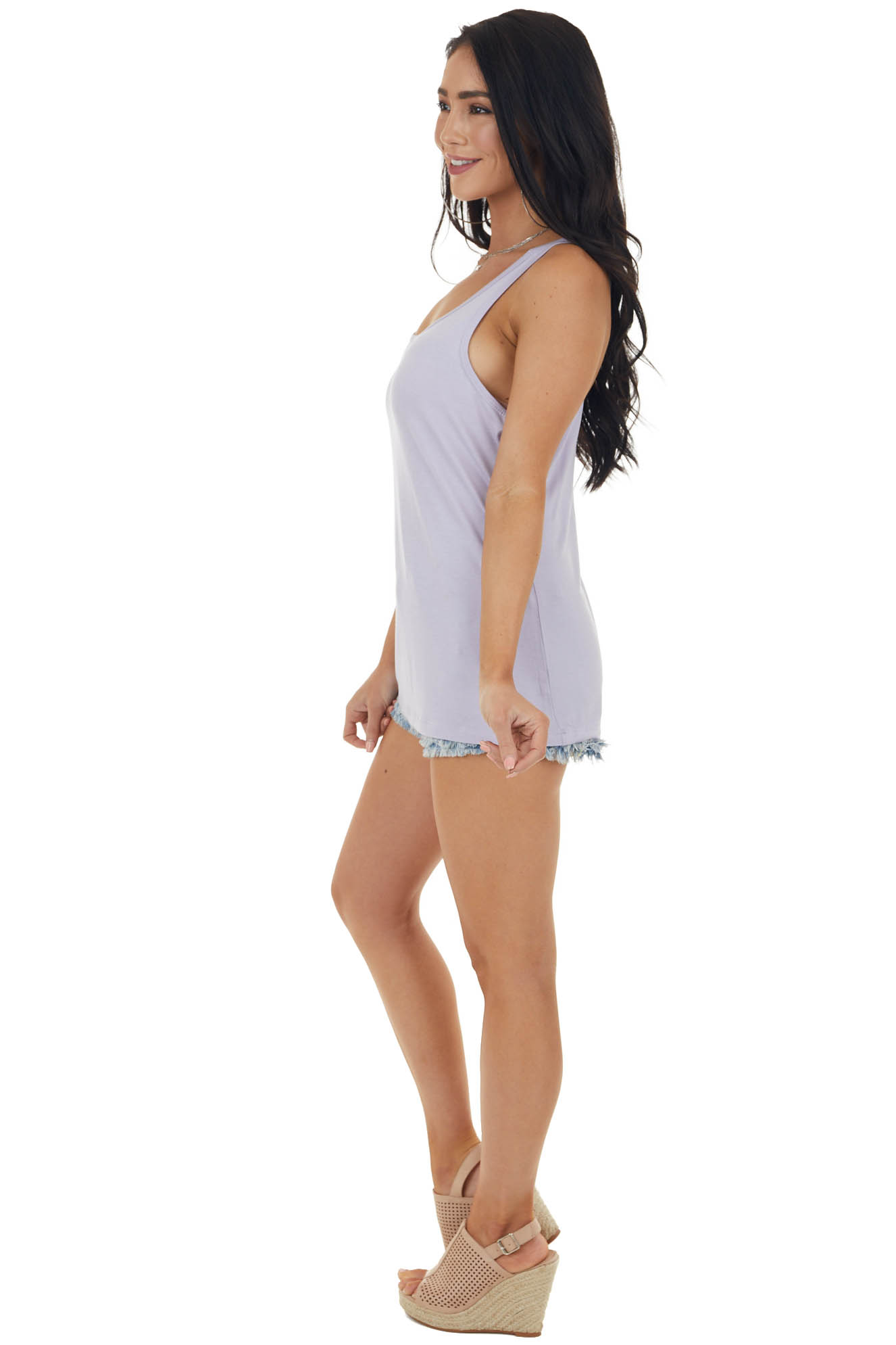 Periwinkle Soft Stretchy Knit Tank Top with Racerback