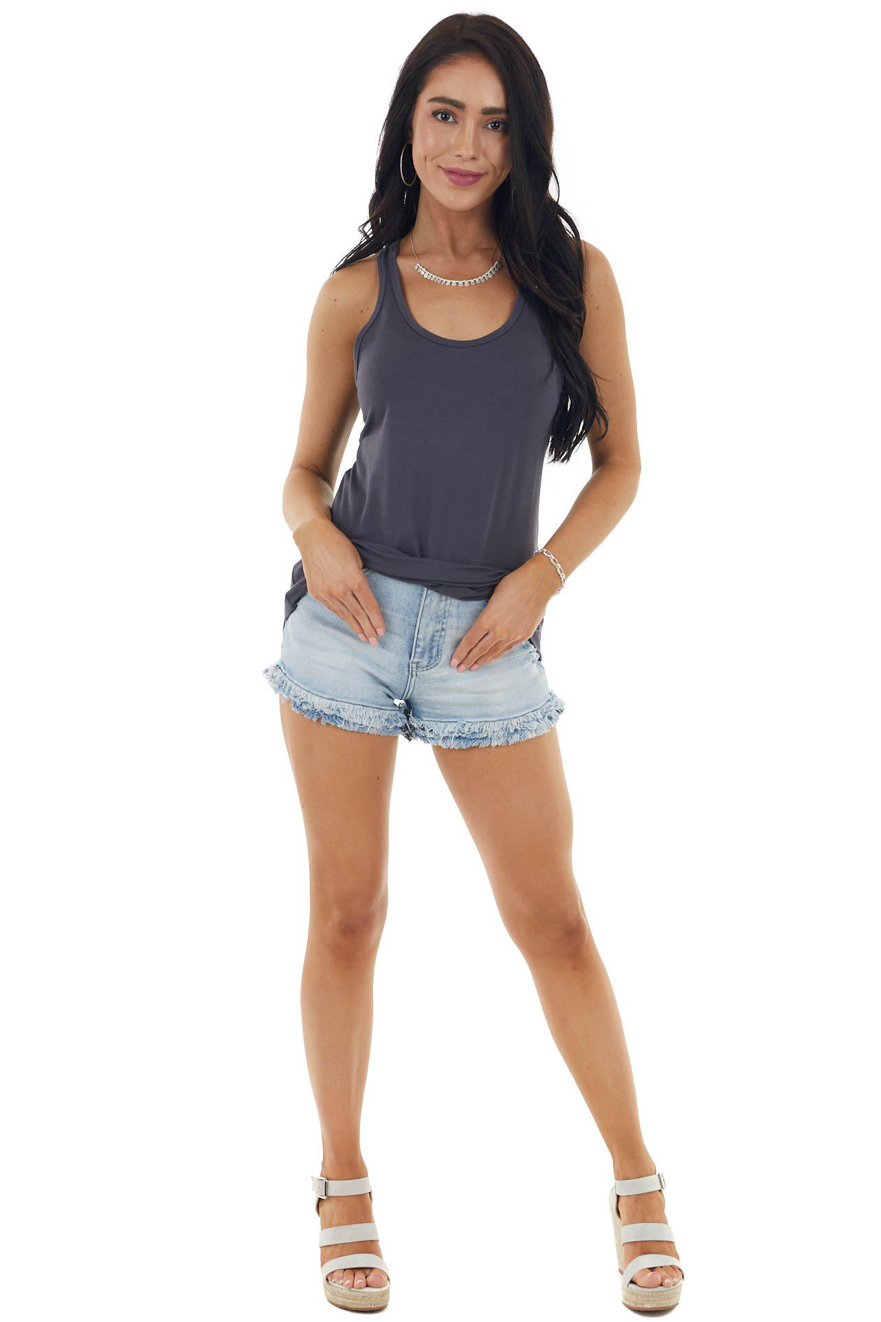 Charcoal Soft Stretchy Knit Tank Top with Racerback