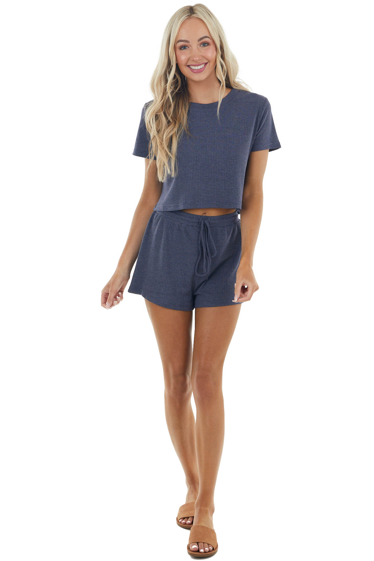 Stormy Blue Short Sleeve Ribbed Knit Top and Shorts Set