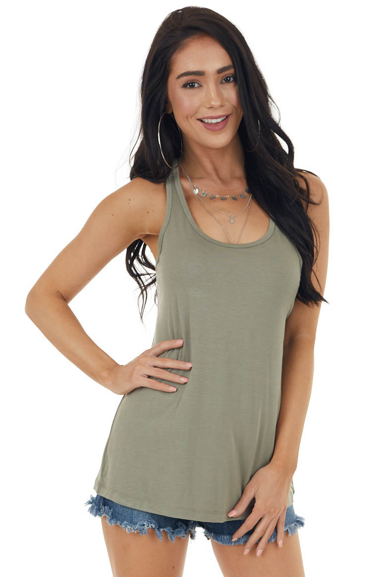 Faded Olive Soft Stretchy Knit Tank Top with Racerback