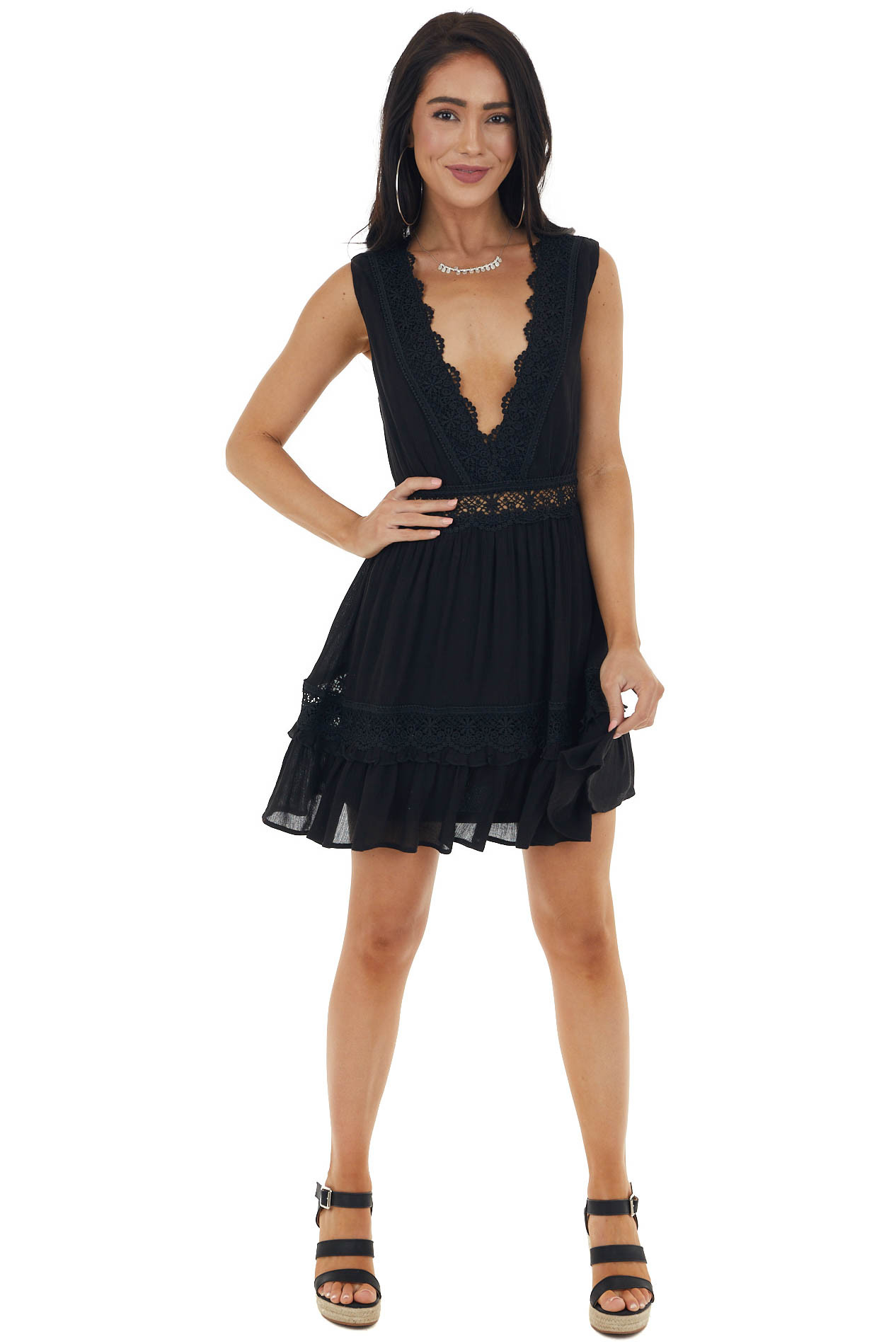 Black Sleeveless Plunging Neck Dress with Crochet Detail