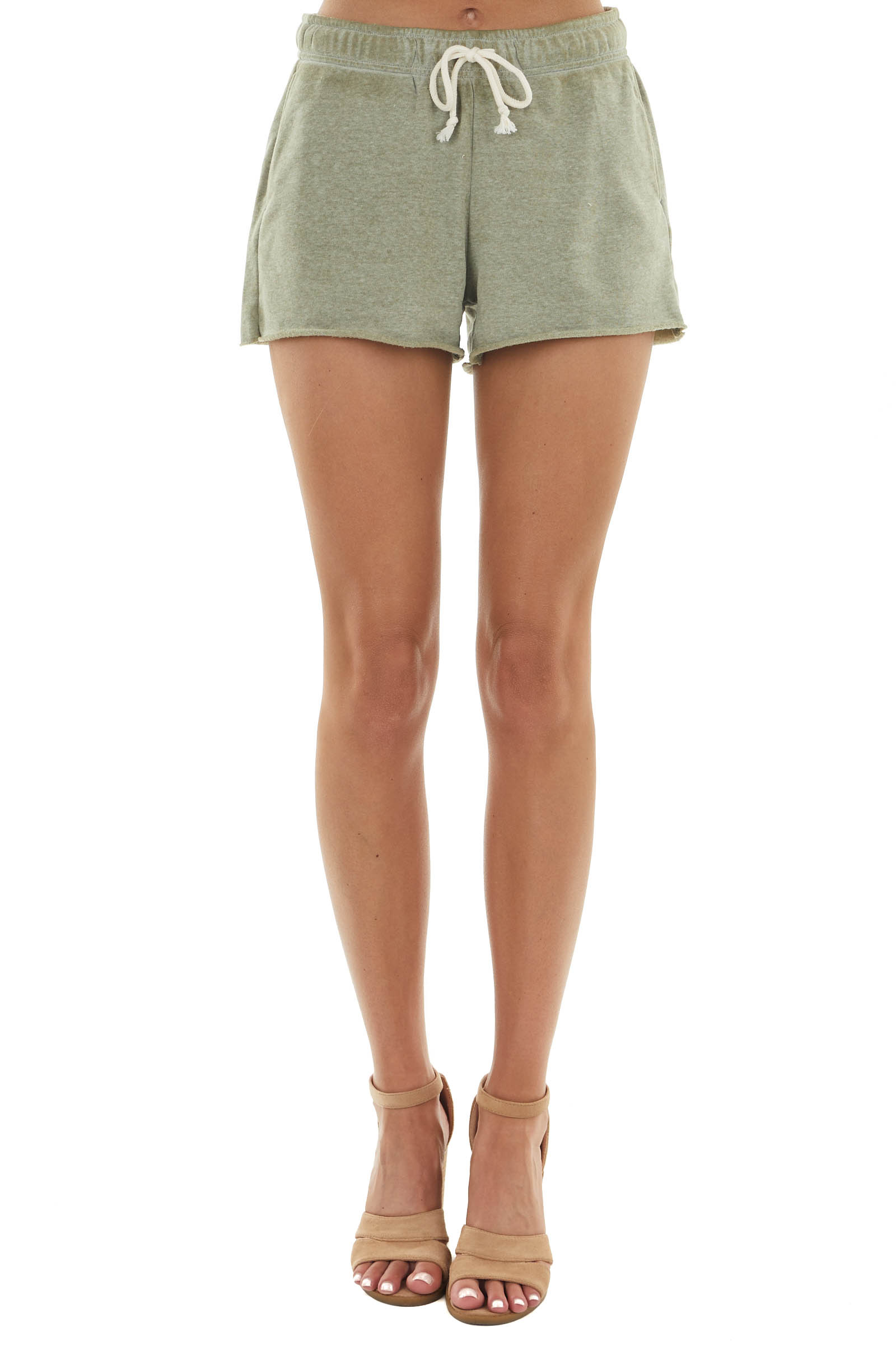 Melange Olive Soft Knit Shorts with Functional Waist Tie