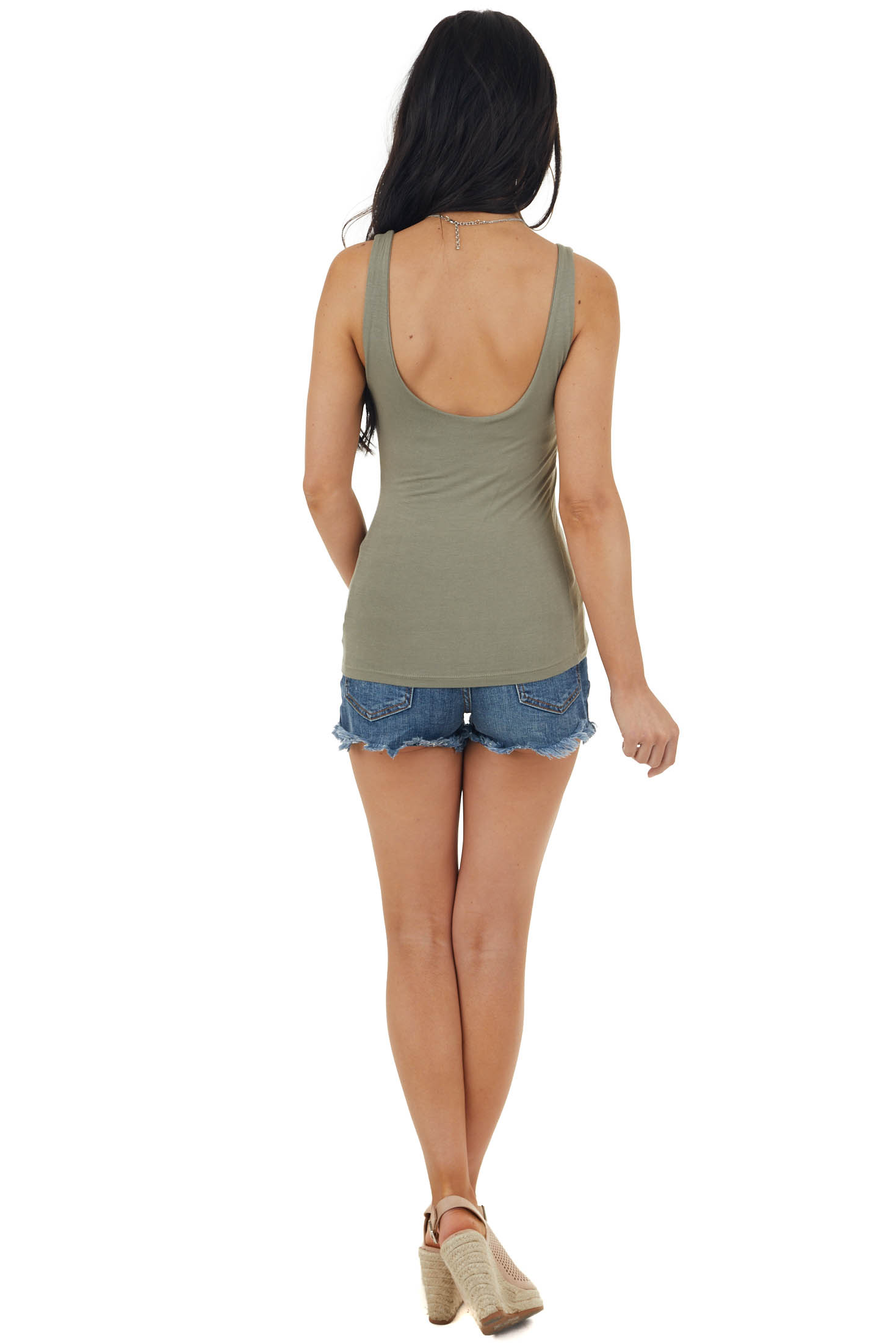 Olive Green Lightweight Sleeveless Stretchy Knit Tank Top