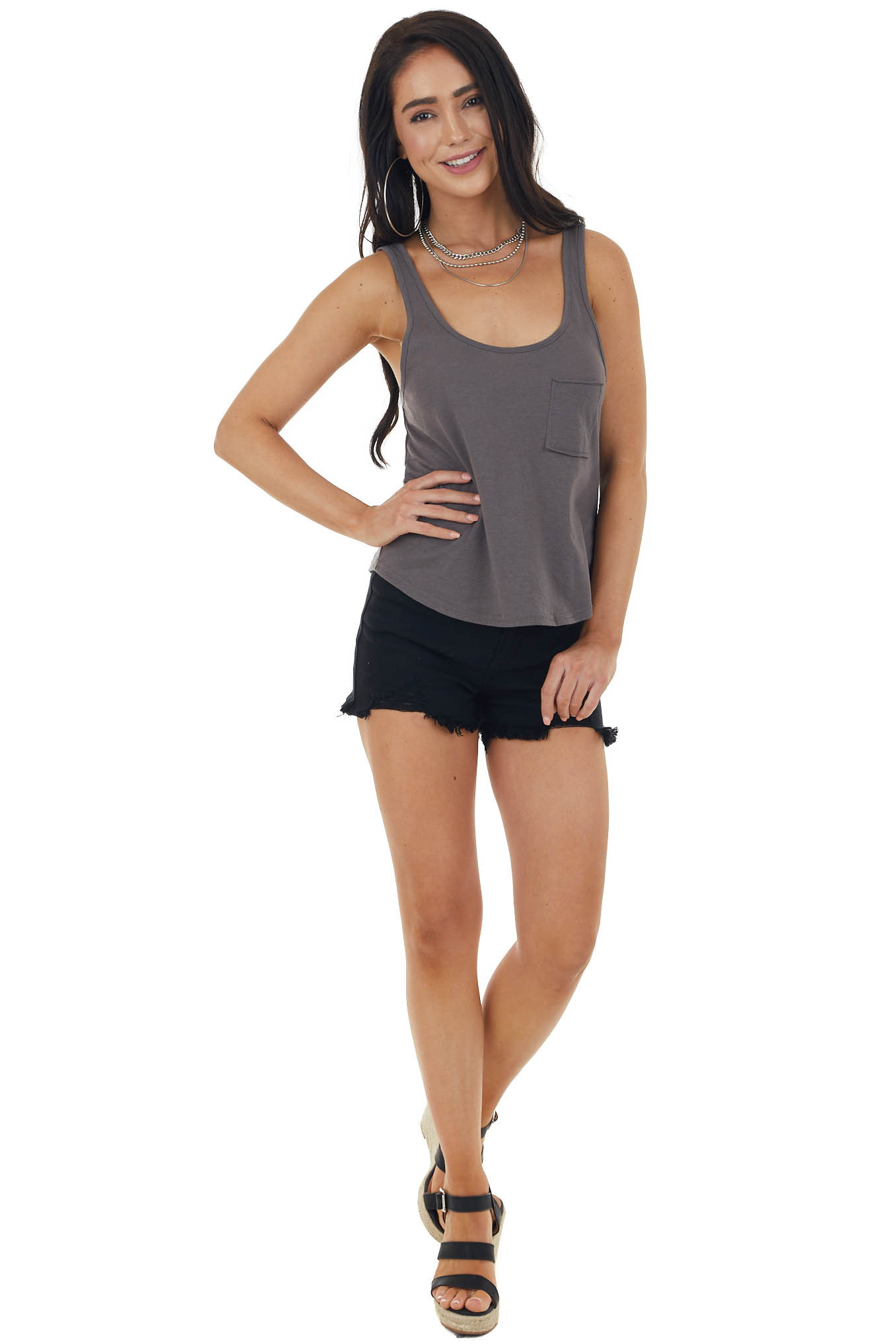 Heathered Charcoal Lightweight Knit Tank Top with Pocket