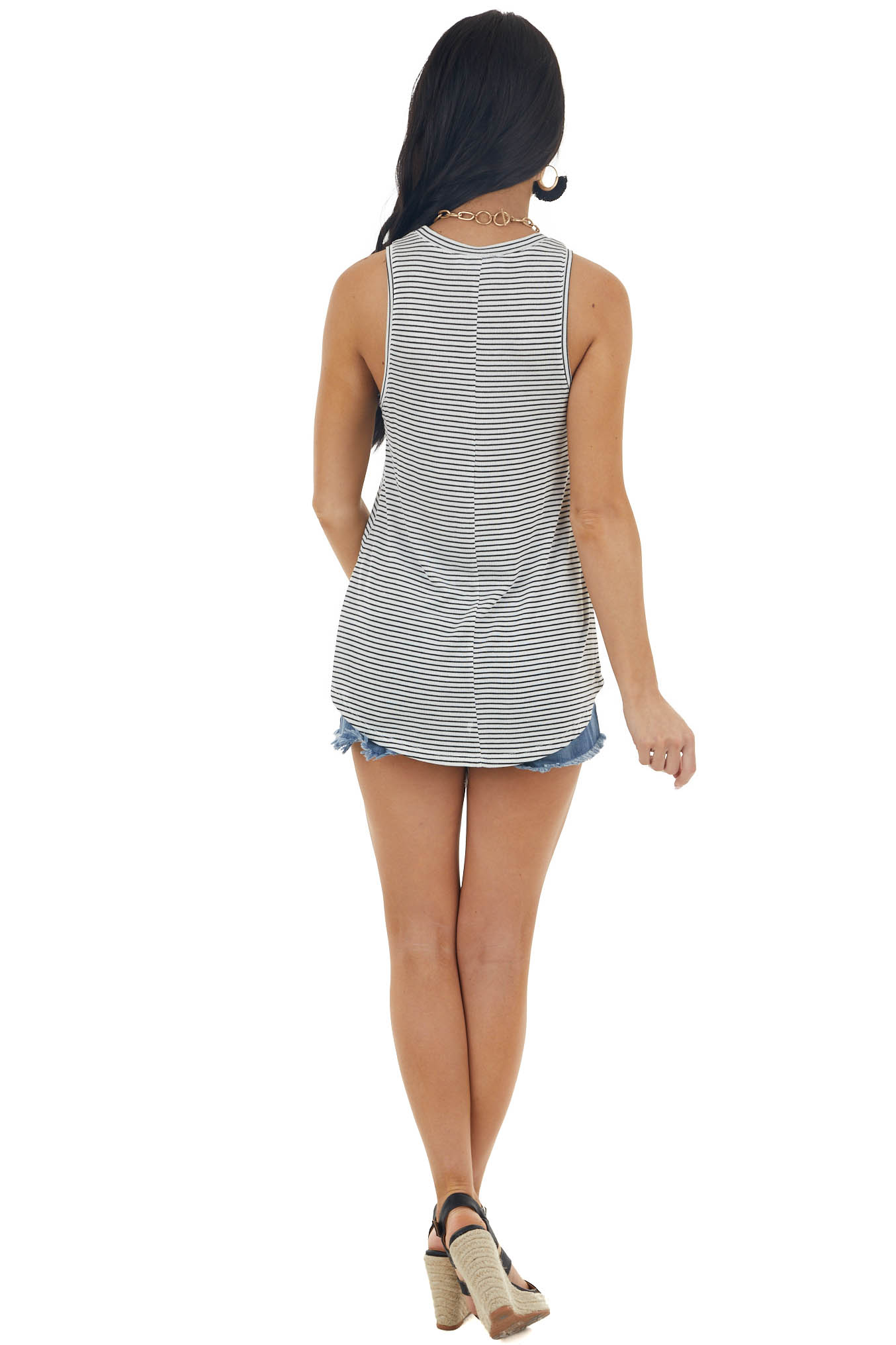 Off White and Black Striped Knit Tank Top with U Neckline